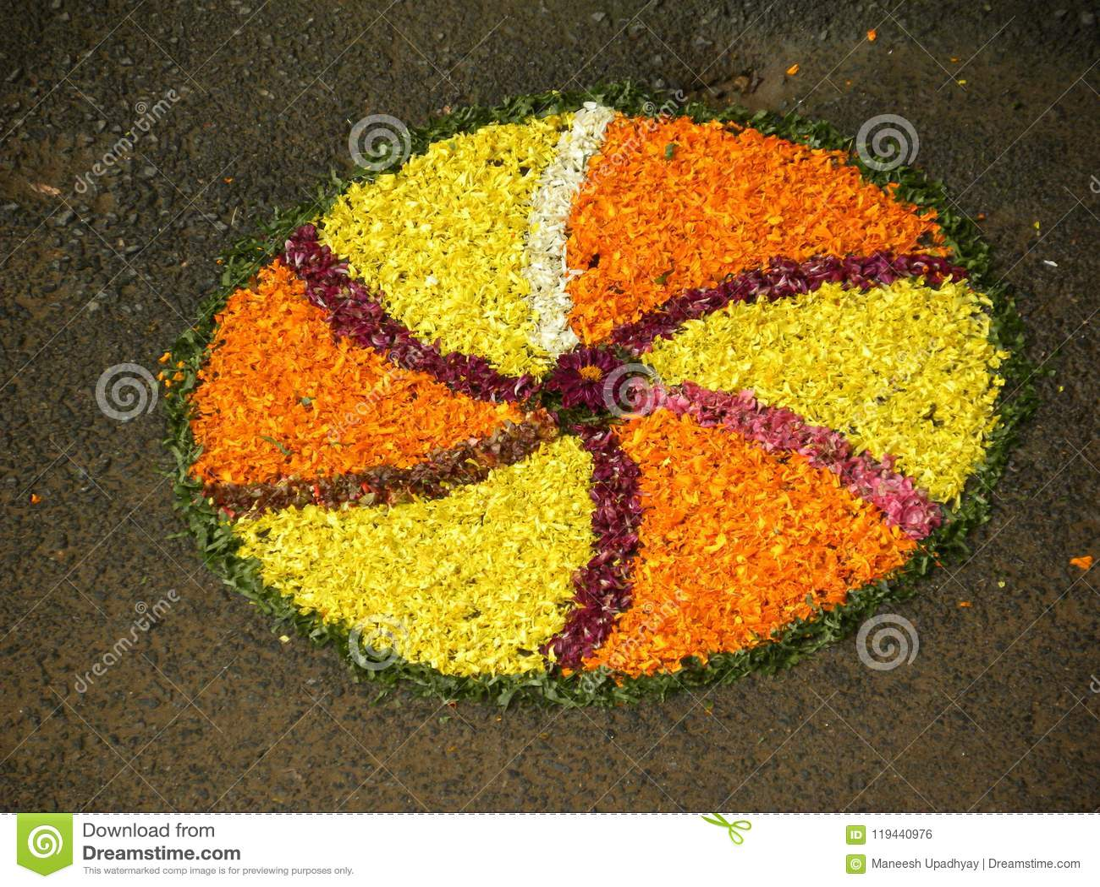 Rangoli Design Made By Yellow And Orange Marigold Flowers Stock