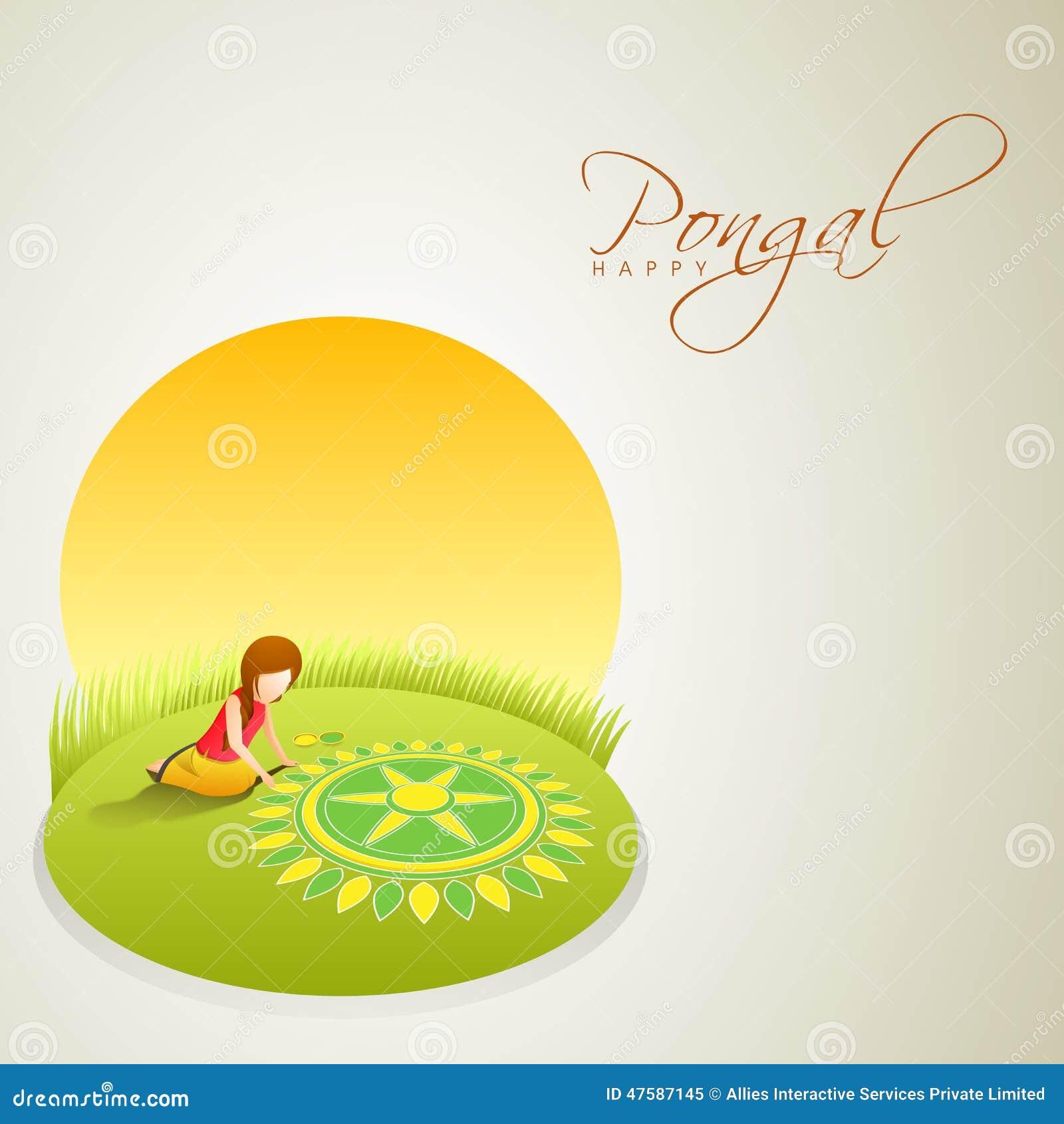 Rangoli für das Feiern des indischen Südfestivals Pongal