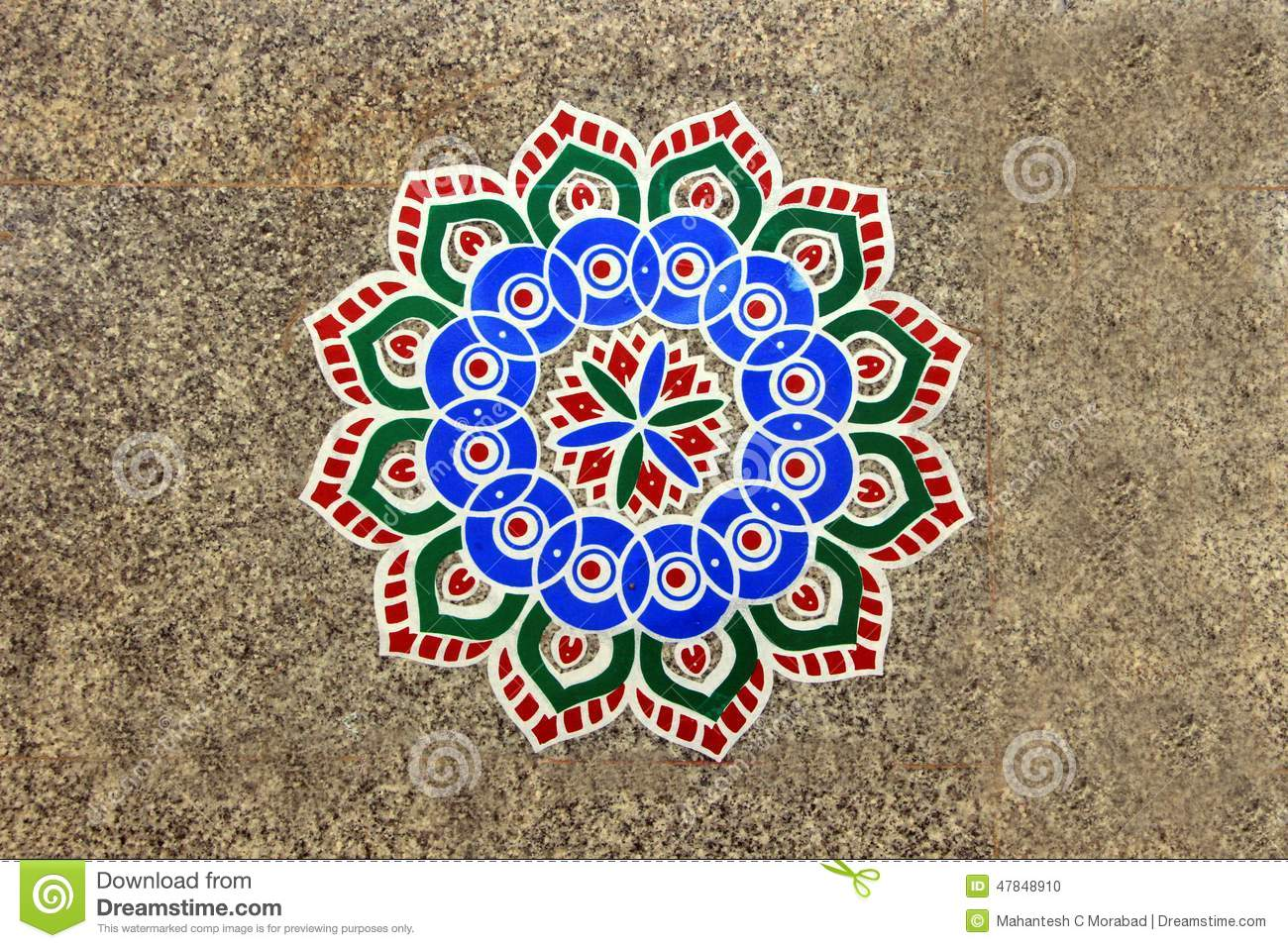 Rangoli pattern on floor stock photo image 47848910 for Floor rangoli design