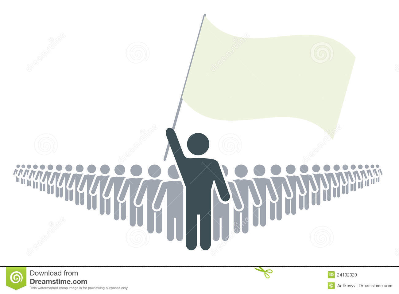 Rank of people with leader and flag stock photo image for Leder symbol