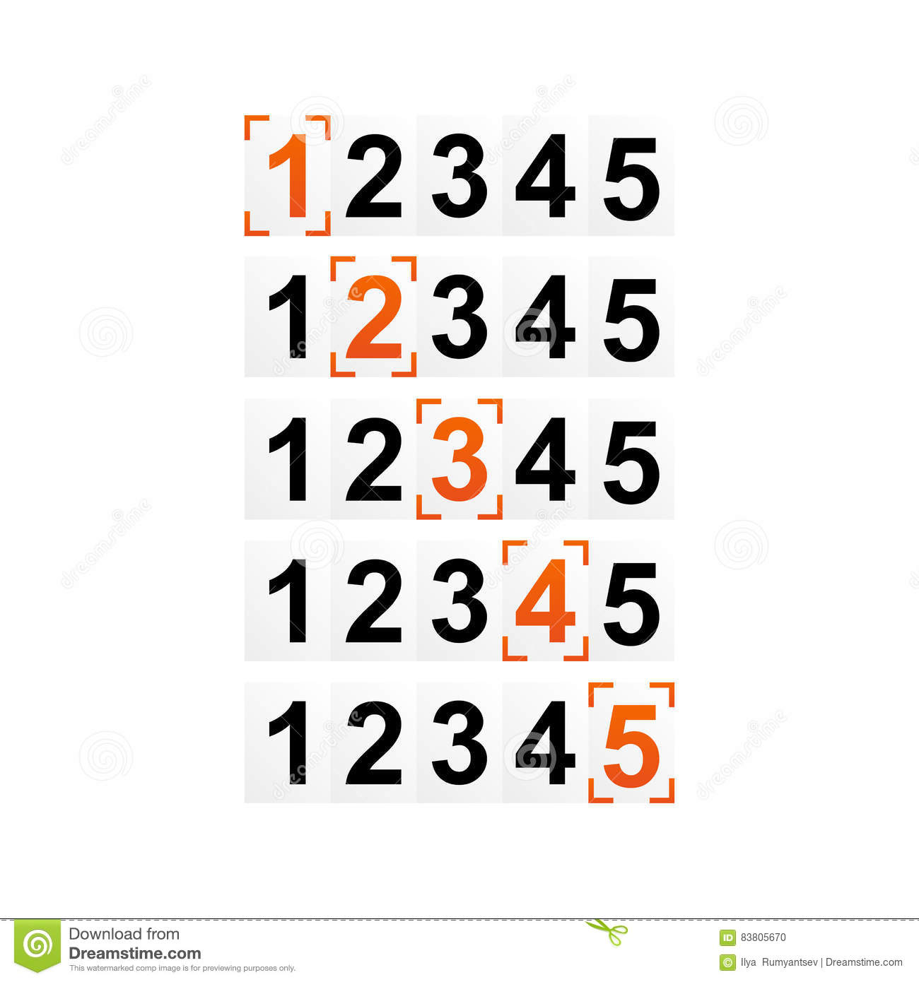 Ranking Figures, Numbers Of Rating Or Strength With Frame Stock ...