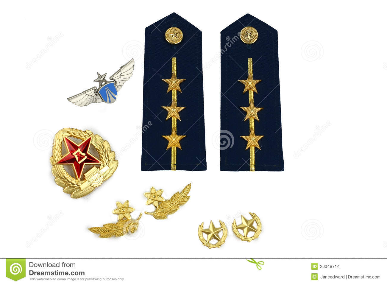 Ranks And Symbols Of Chinese Air Force Stock Photo - Image of