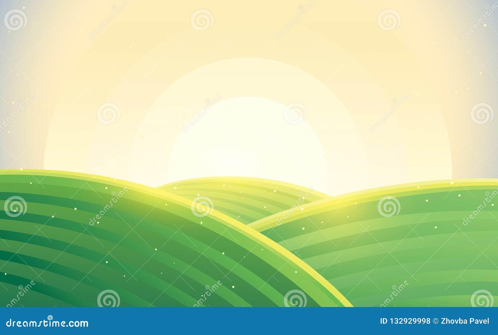 Ranku wiejski krajobrazowy wschód słońca nad wzgórzami