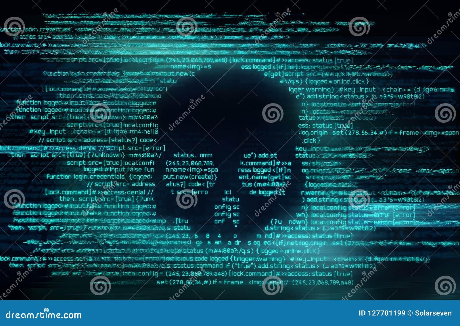 Ransomware und Code, die Hintergrund zerhacken
