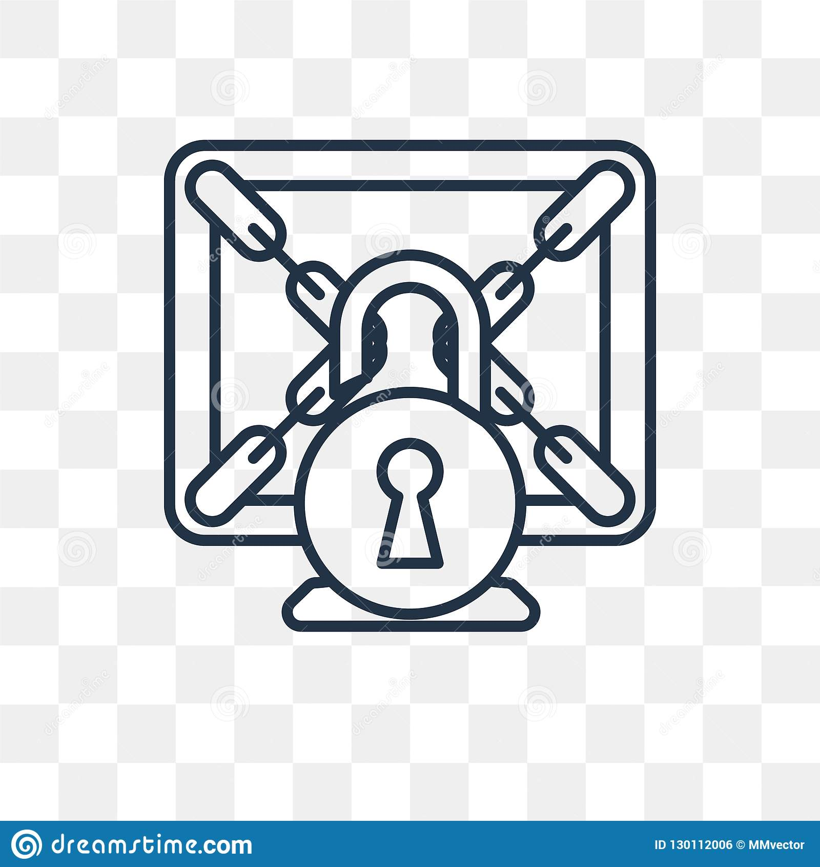 Ransomware Vector Icon On Transparent Background, Linea Stock Vector