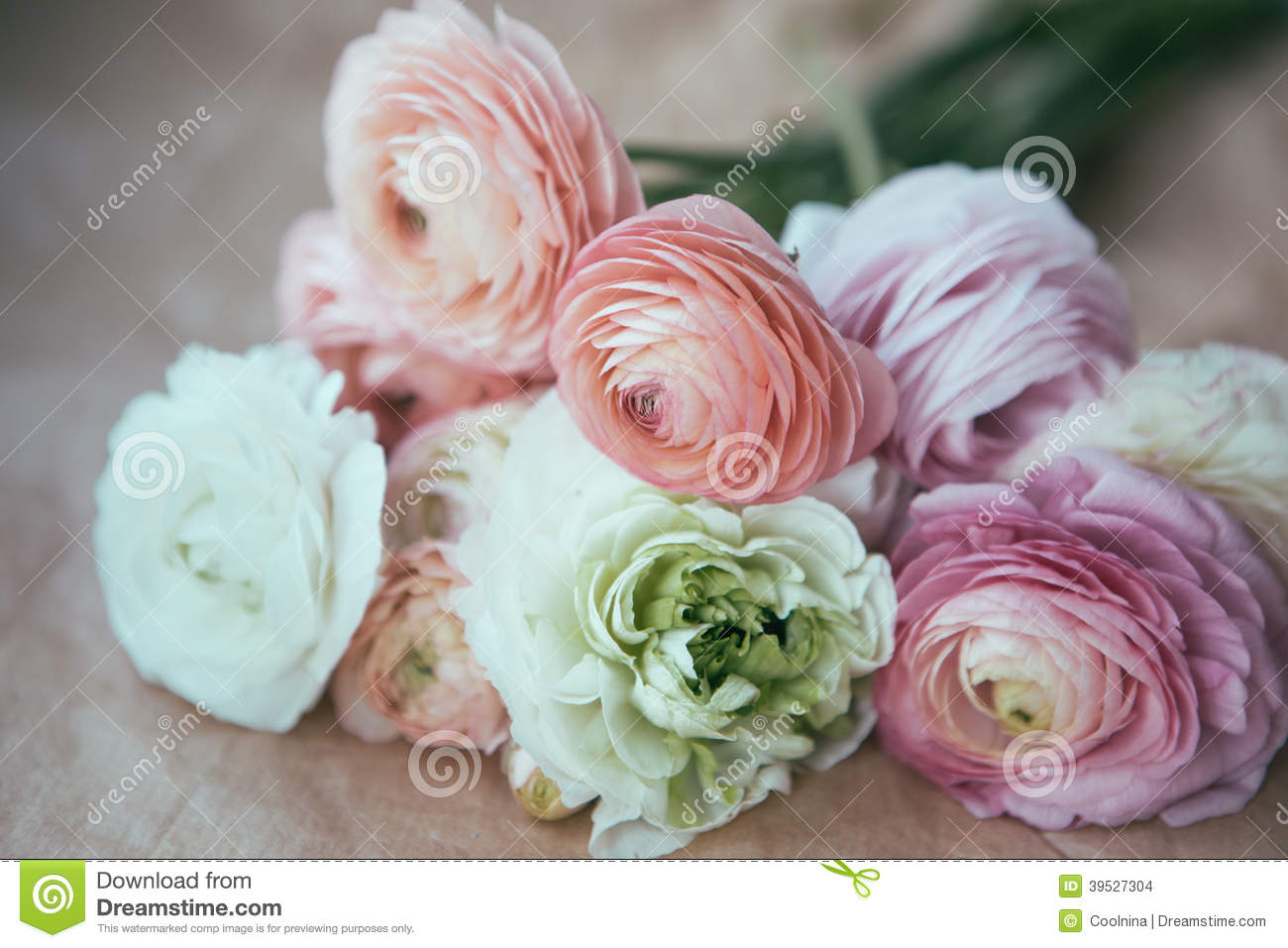Ranunculus Bouquet On Craft Paper Stock Photo Image Of Plant