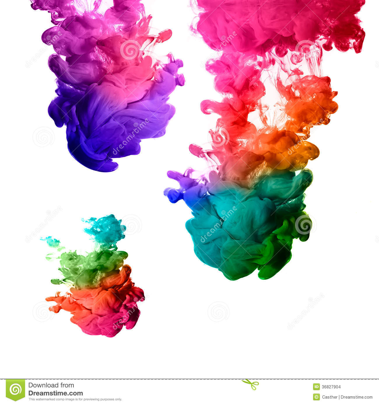 rainbow of acrylic ink in water color explosion stock images