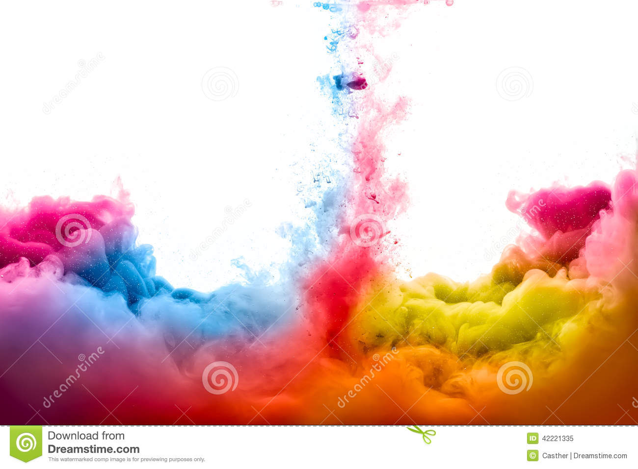 rainbow of acrylic ink in water color explosion stock