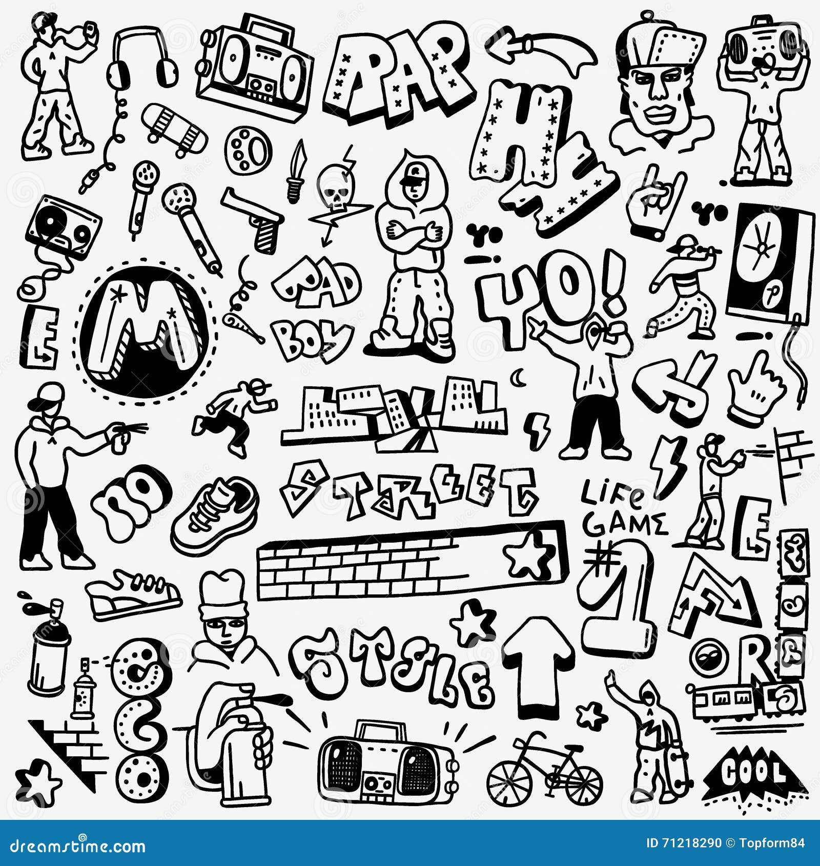 rap hip hop graffiti doodles set illustration 71218290 megapixl