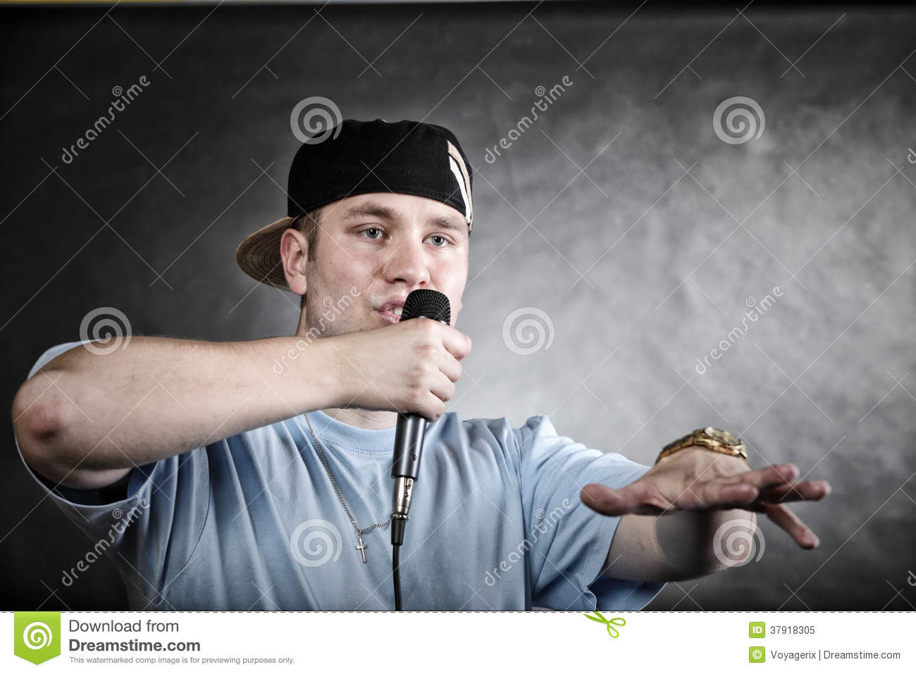 Handsome Young Boy Singing A Hip Hop Music