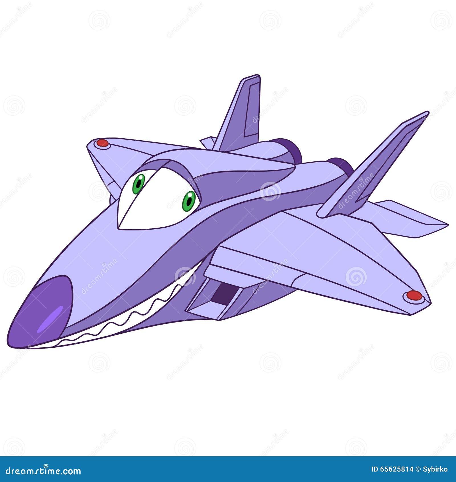 Rapace mignon de l avion f-22 de bande dessinée