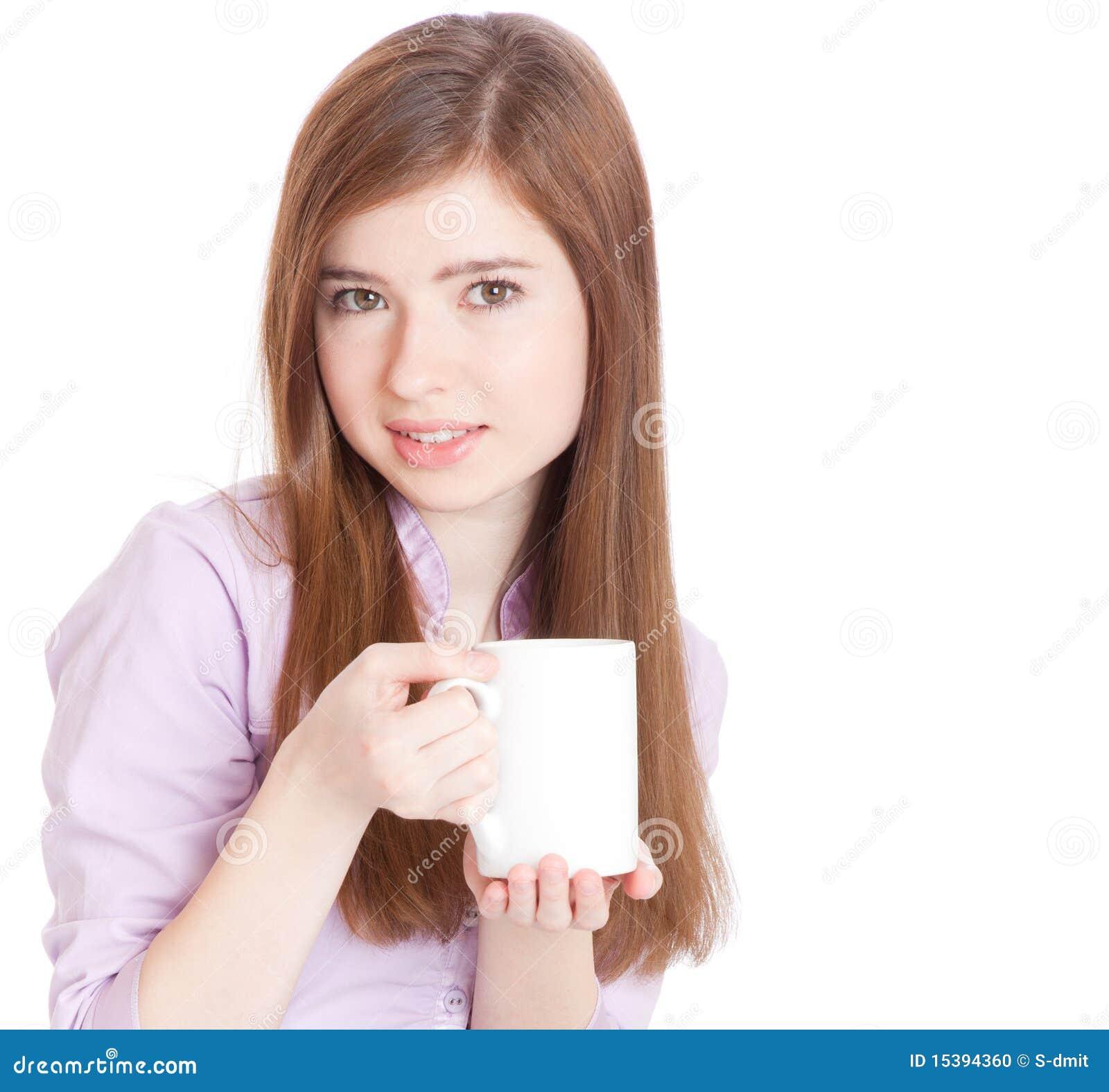 Rapariga com a caneca com café