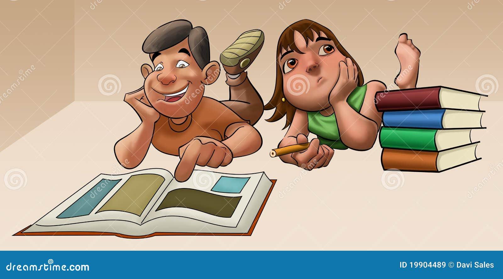 A rapariga que estuda a sua examinação