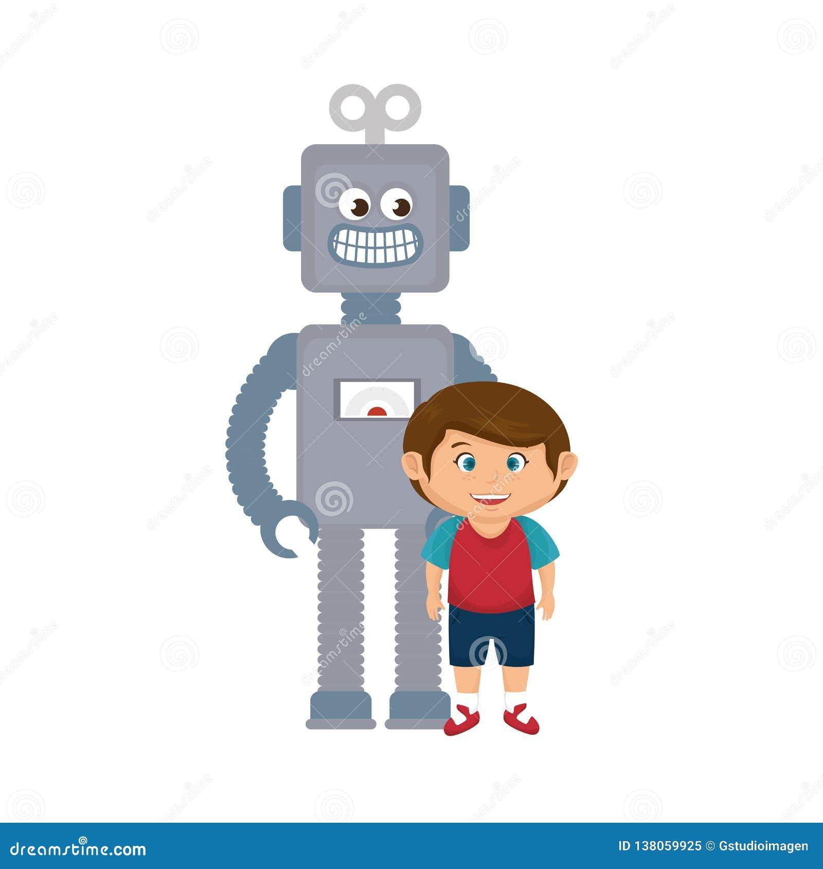 Rapaz pequeno com brinquedo do robô
