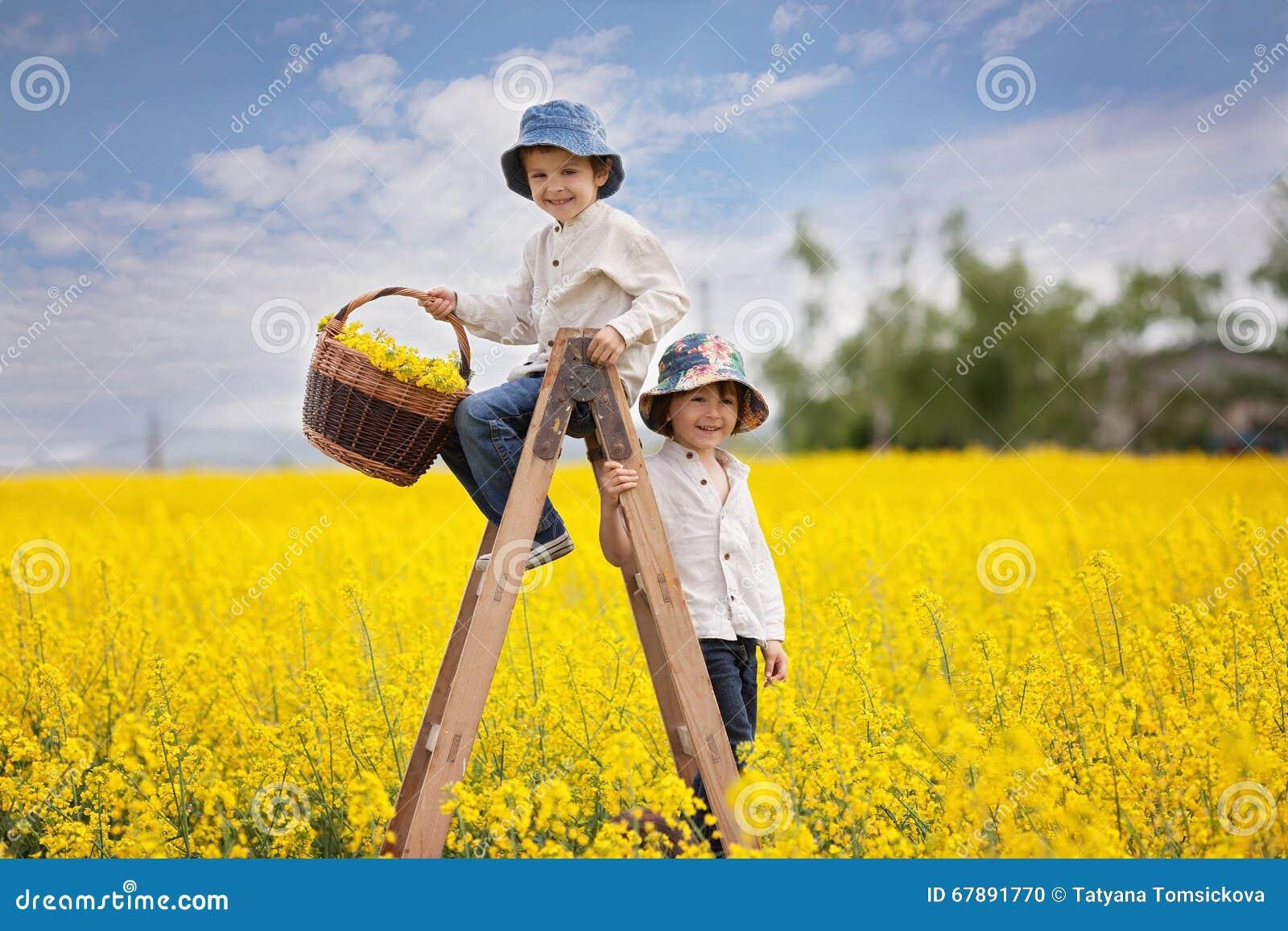 Rapazes pequenos felizes, sentando-se em uma escada de madeira no fie amarelo da violação