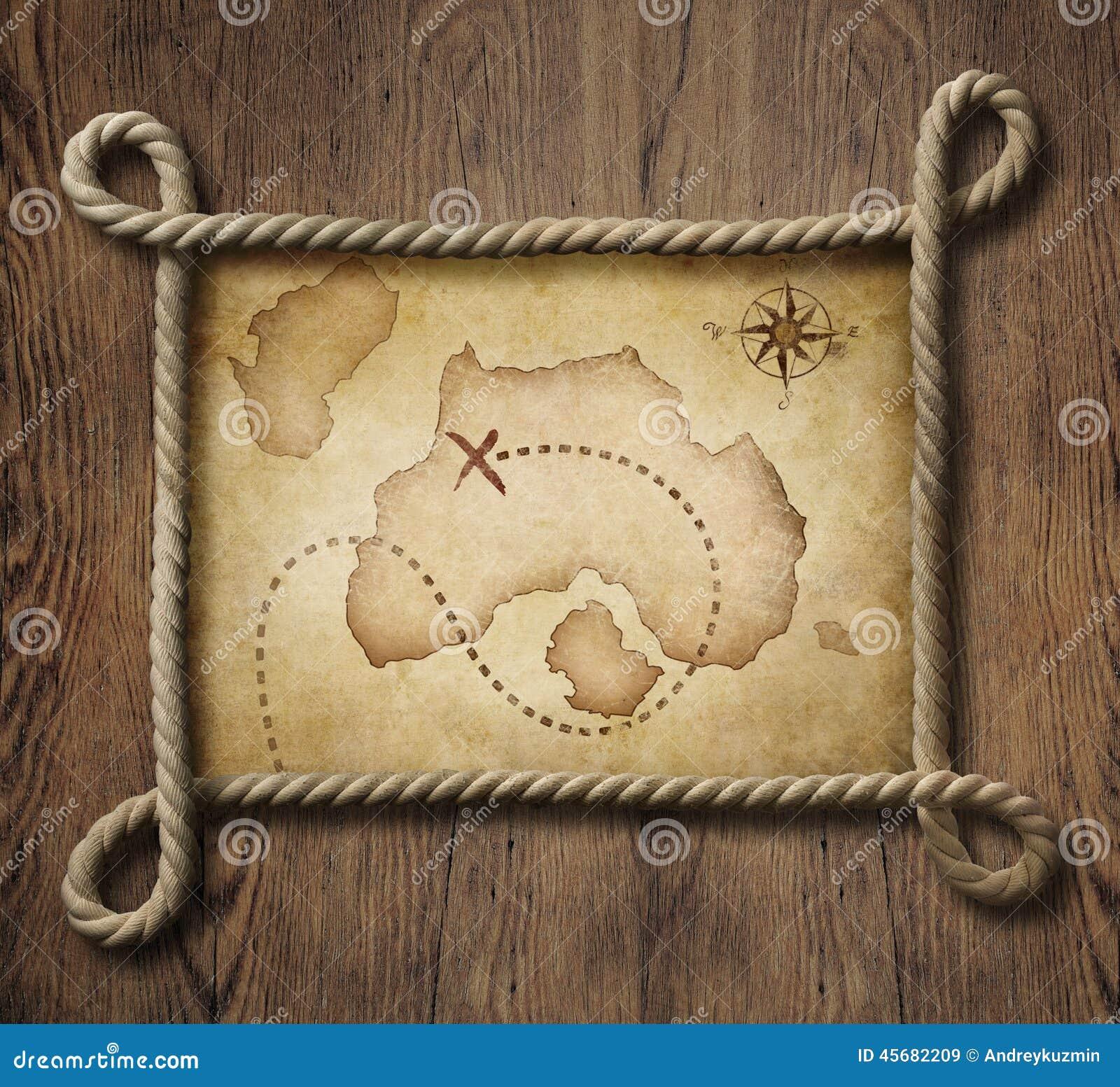 Rapini la struttura nautica della corda di tema con il vecchio tesoro