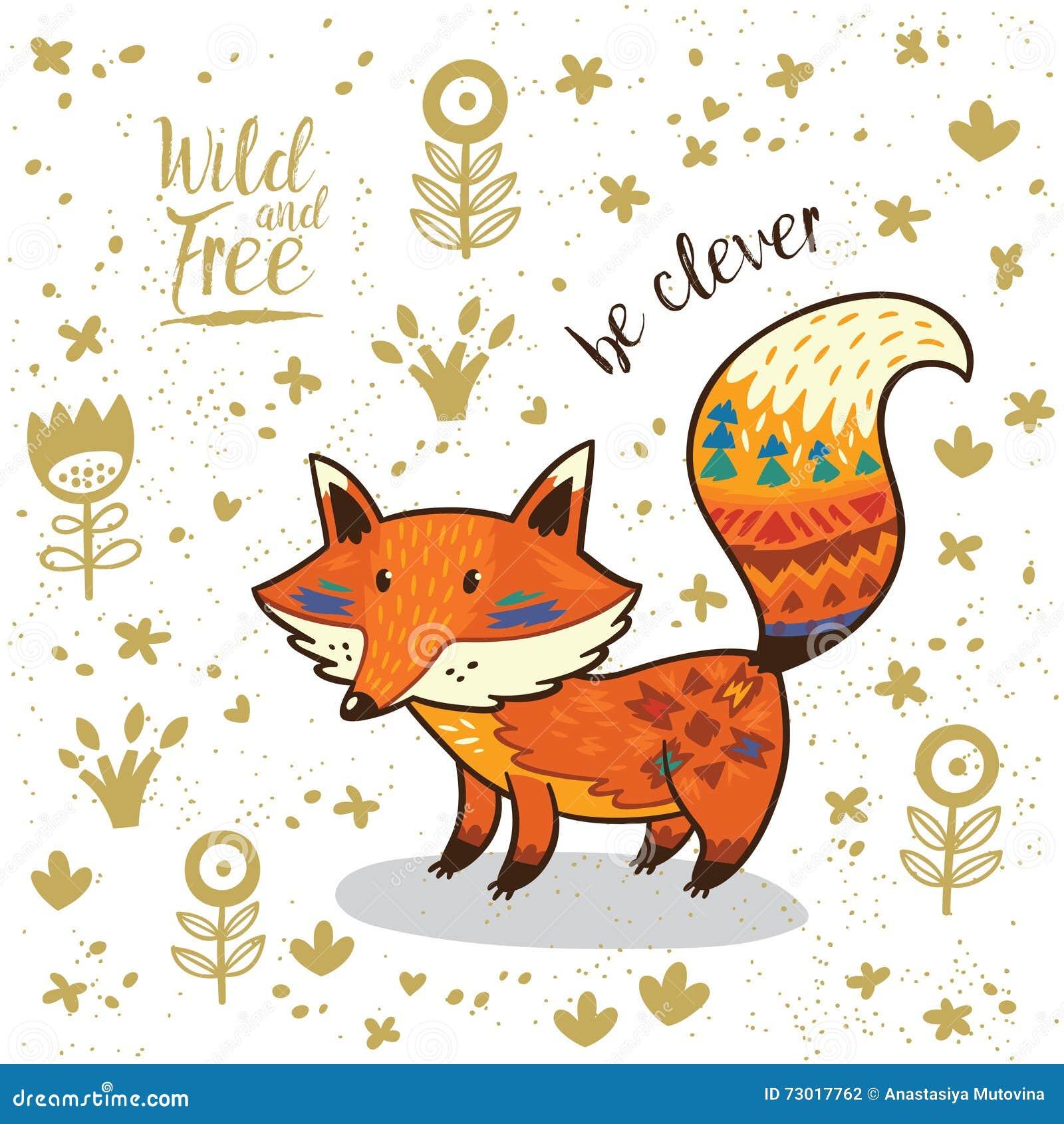 A raposa indiana da ilustração bonito com texto seja inteligente