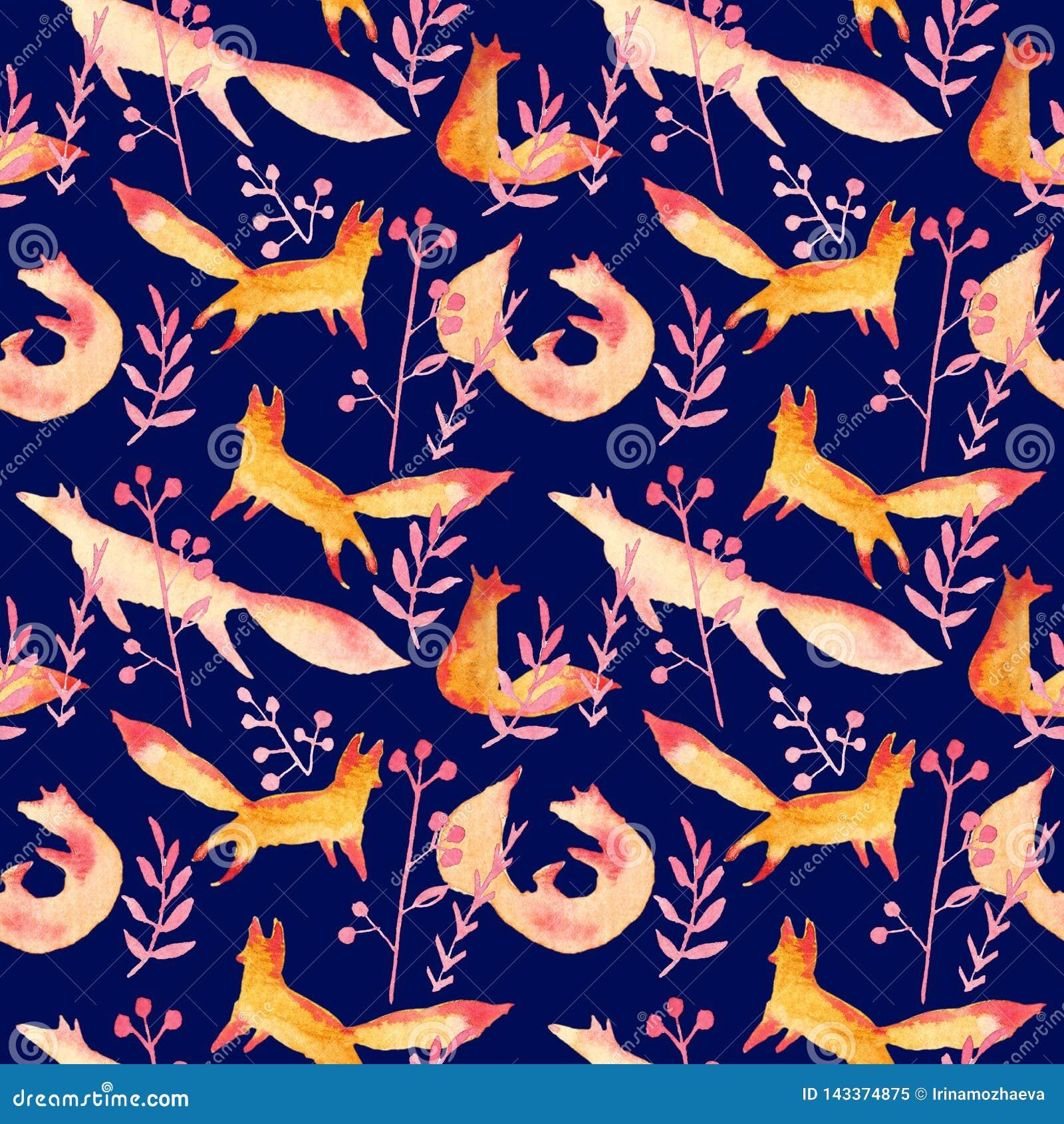 Raposas vermelhas alaranjadas bonitos no teste padrão sem emenda da aquarela cor-de-rosa da floresta em escuro - fundo azul da ma