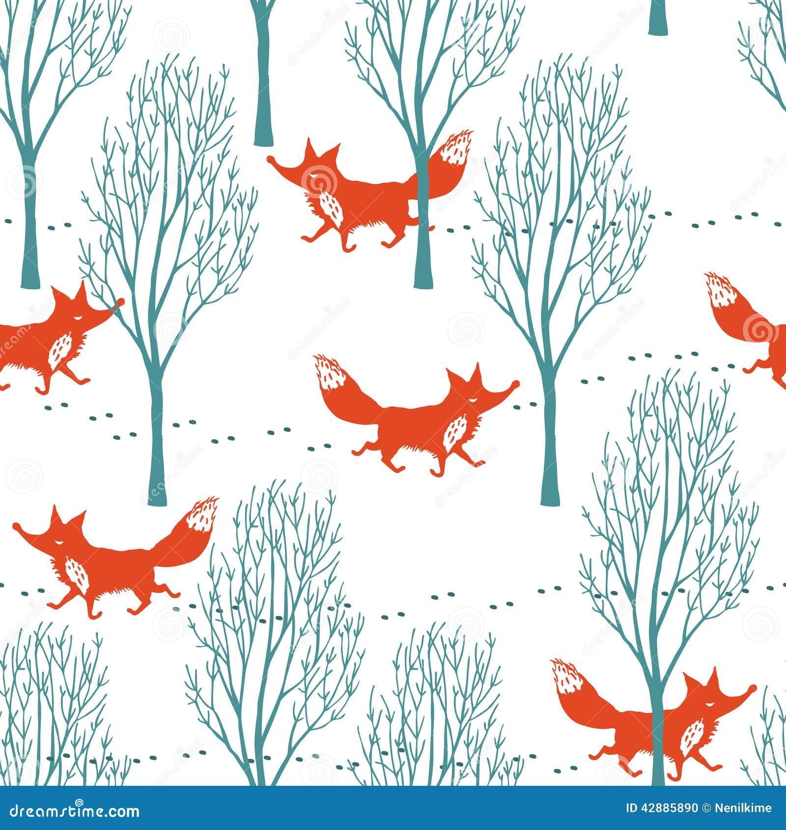 Raposas vermelhas em um fundo da floresta do inverno