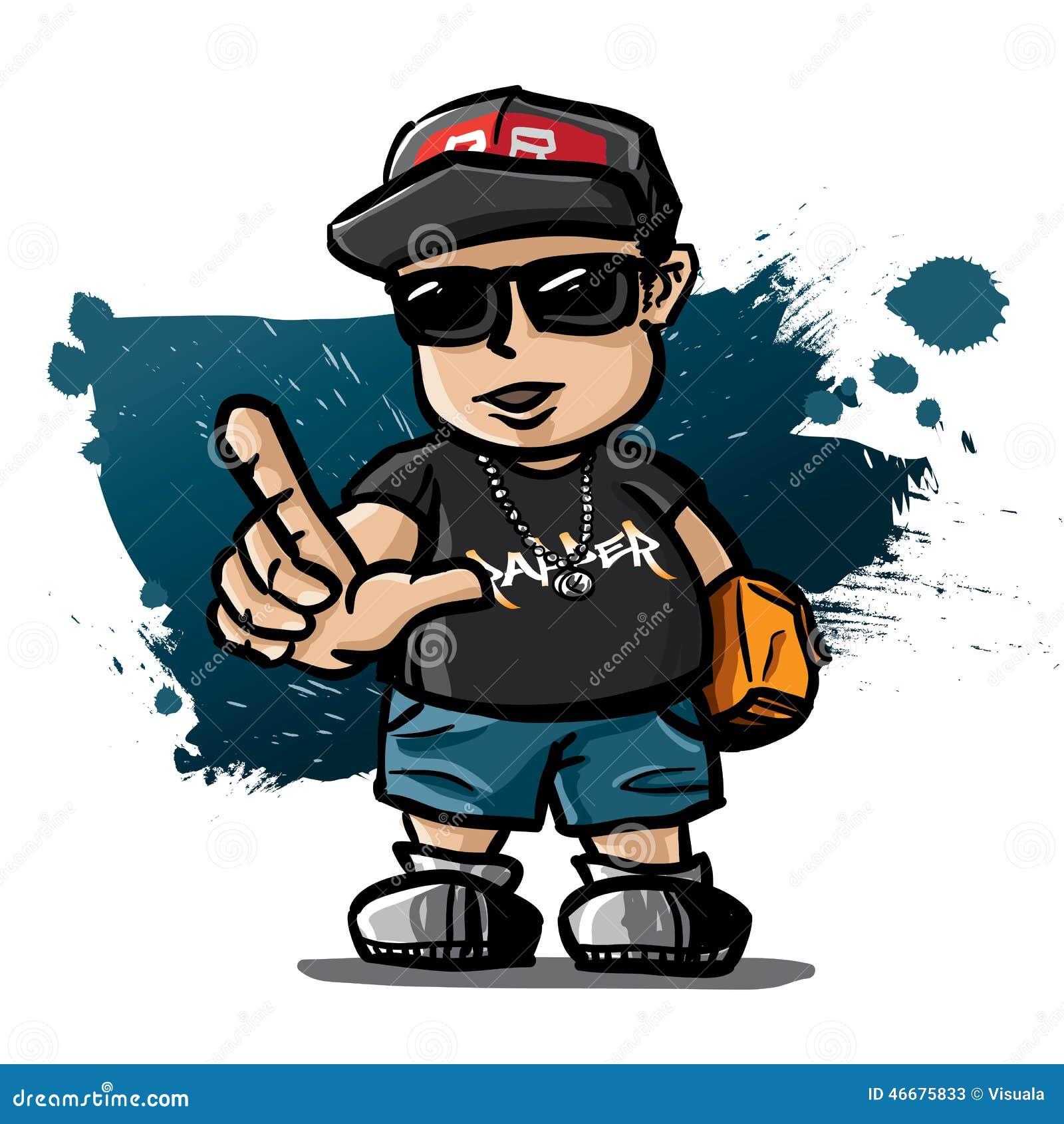 A Z Cartoon Characters Rap : Rapper stock vector image