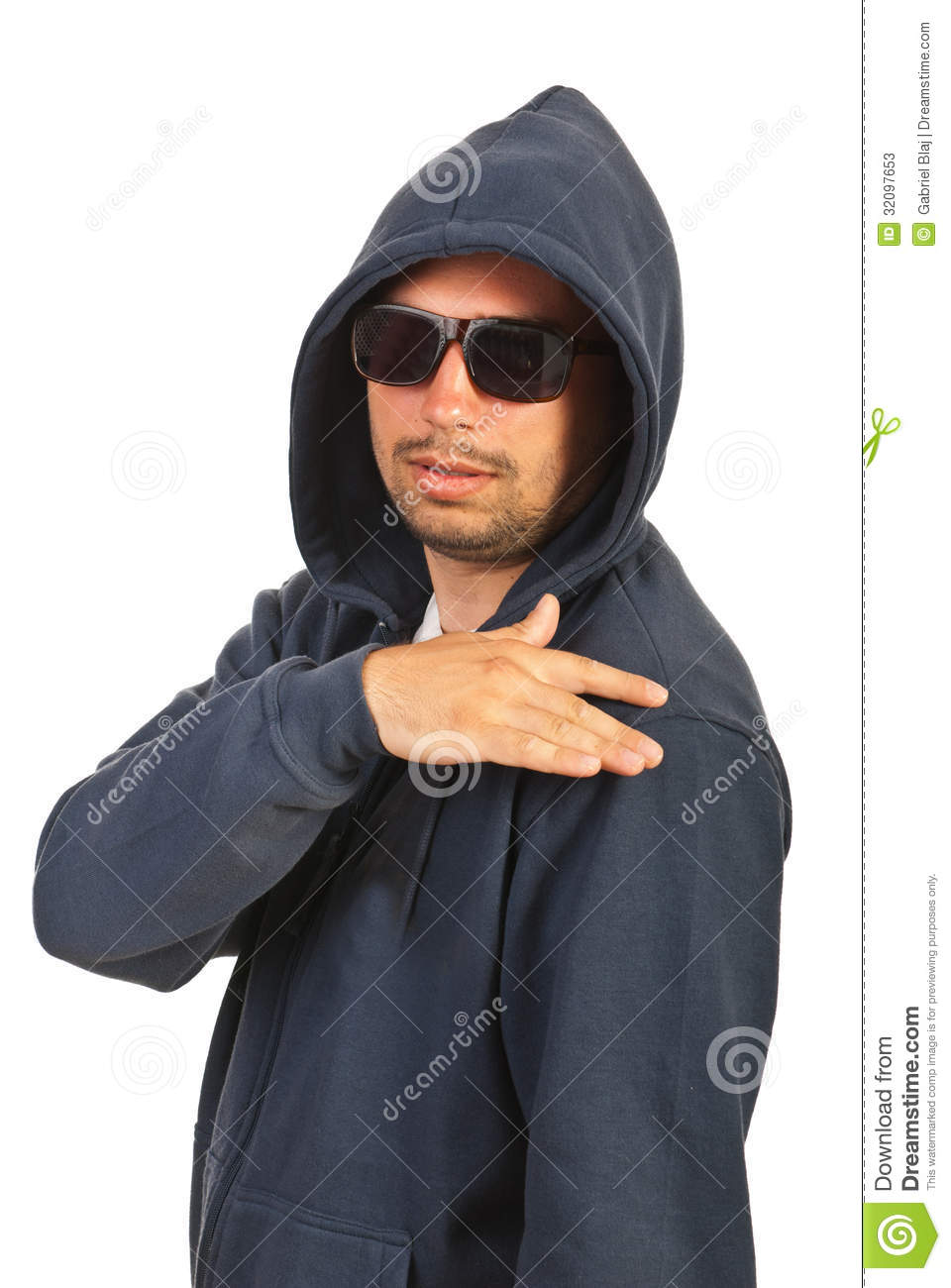 5b2c47a7997 Rapper Man With Hood And Sunglasses Stock Image - Image of male ...