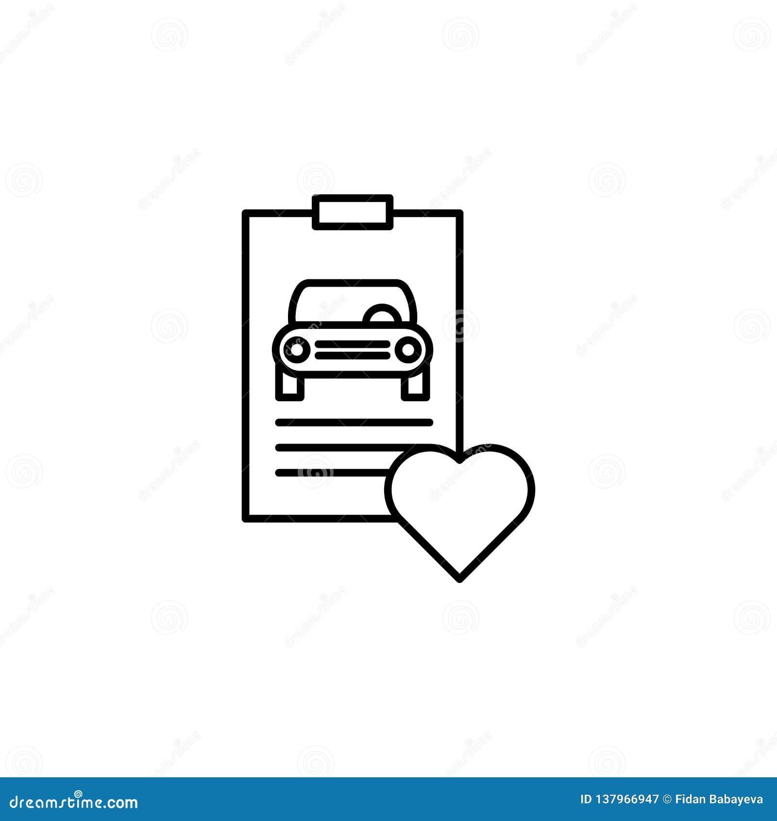 Rapport, voiture, icône d ensemble de coeur Peut être employé pour le Web, logo, l appli mobile, UI, UX