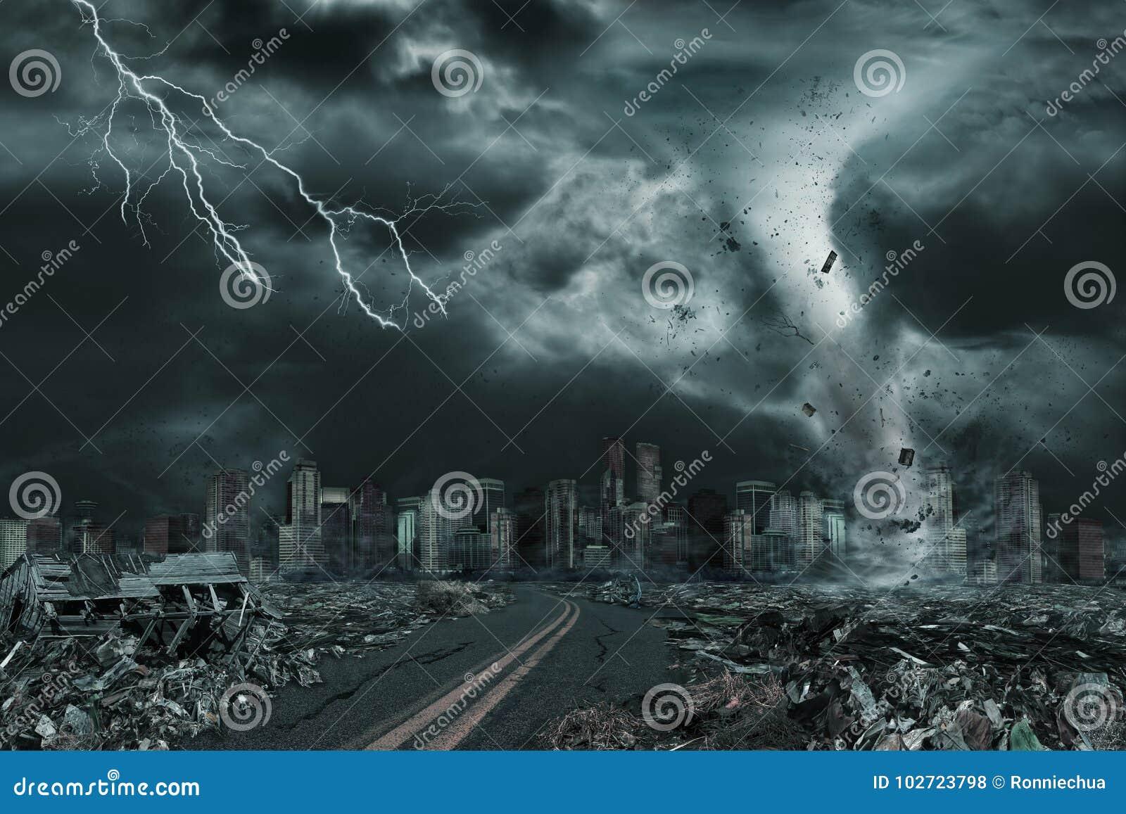 Rappresentazione cinematografica della città distrutta dal tornado o dall uragano