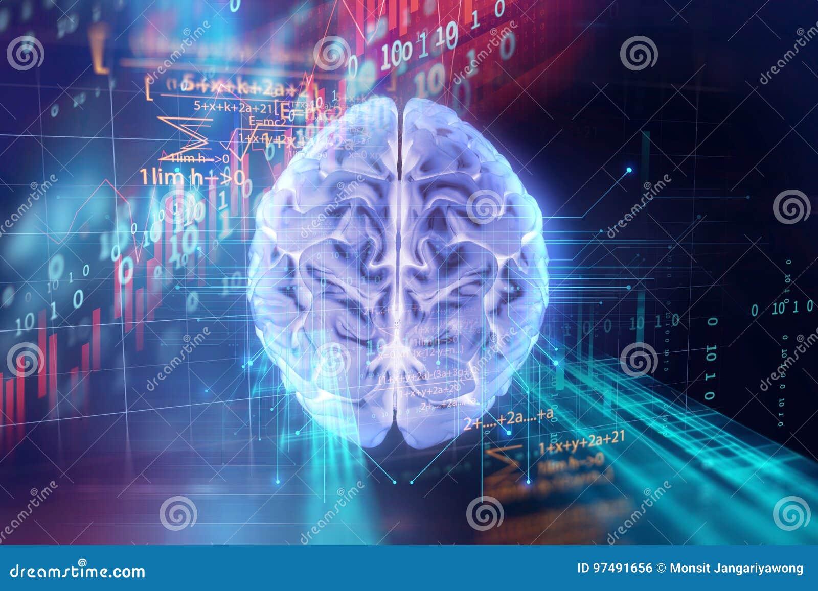 Rappresentazione 3d del cervello umano sul fondo di tecnologia