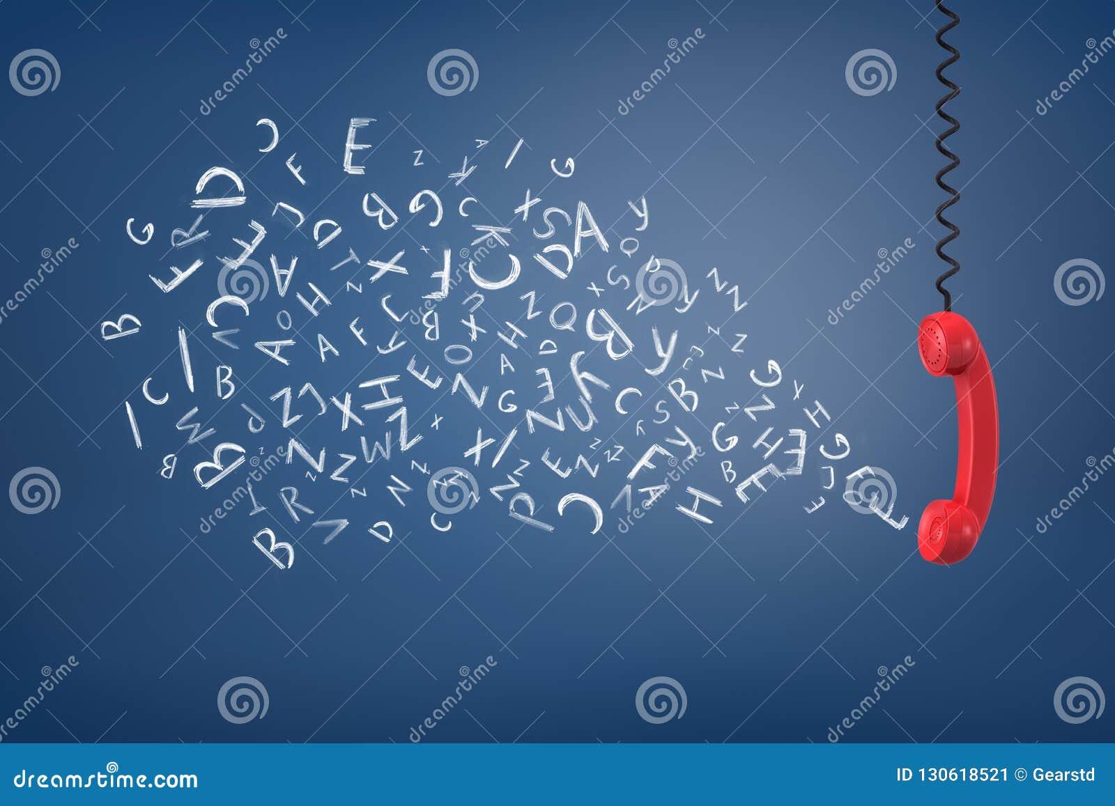 Rappresentazione 3d del microtelefono rosso d annata del telefono che pende sottosopra da un cavo e da un emissione molti segni d