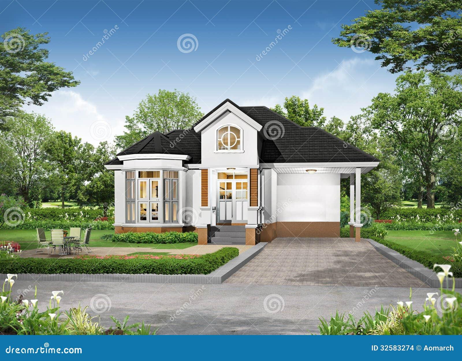 Rappresentazione 3d dell 39 esterno tropicale della casa for Rendering casa gratis