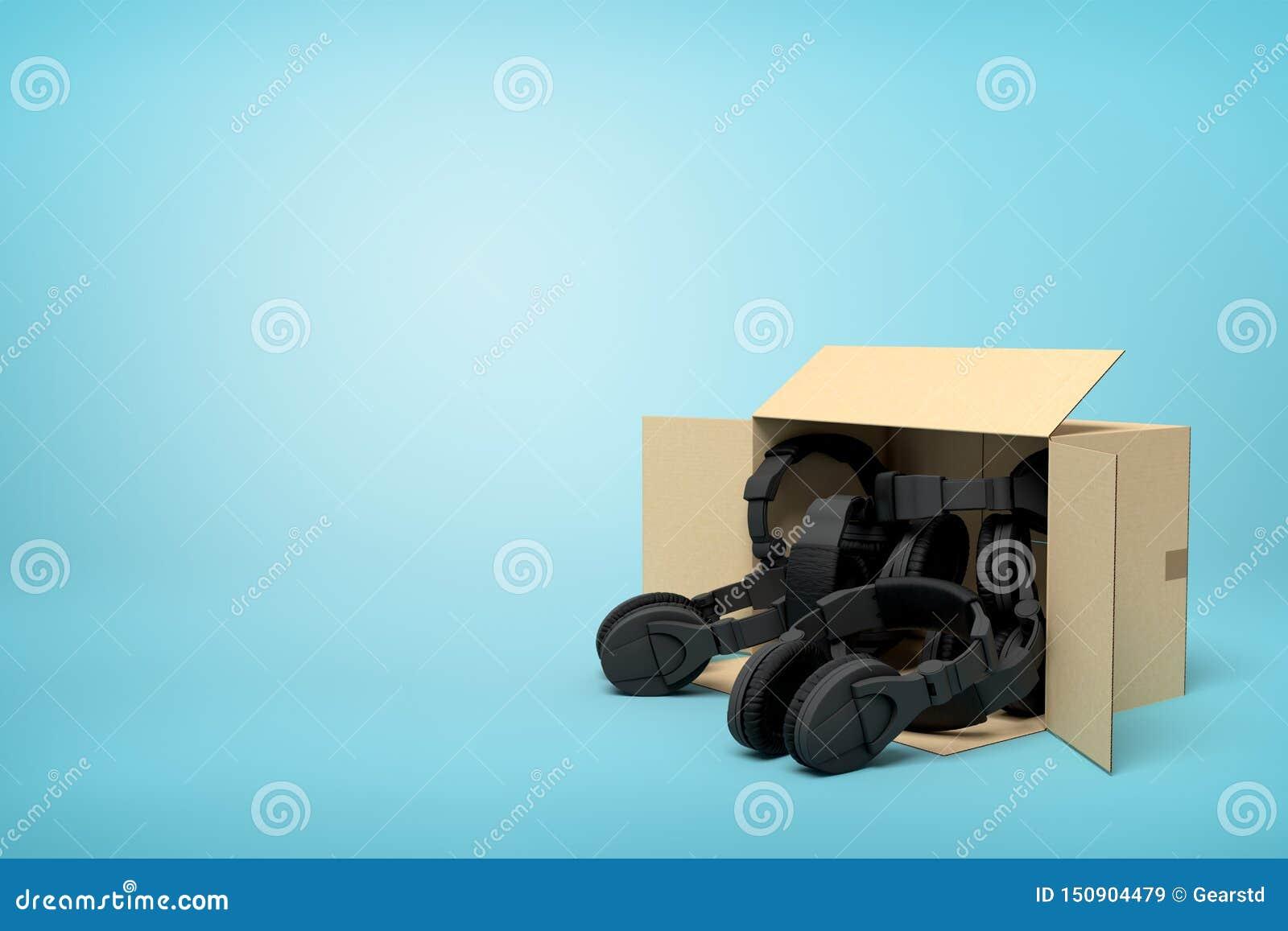 Rappresentazione 3d della menzogne aperta della scatola di cartone laterale con le cuffie nere dentro su fondo blu-chiaro con lo