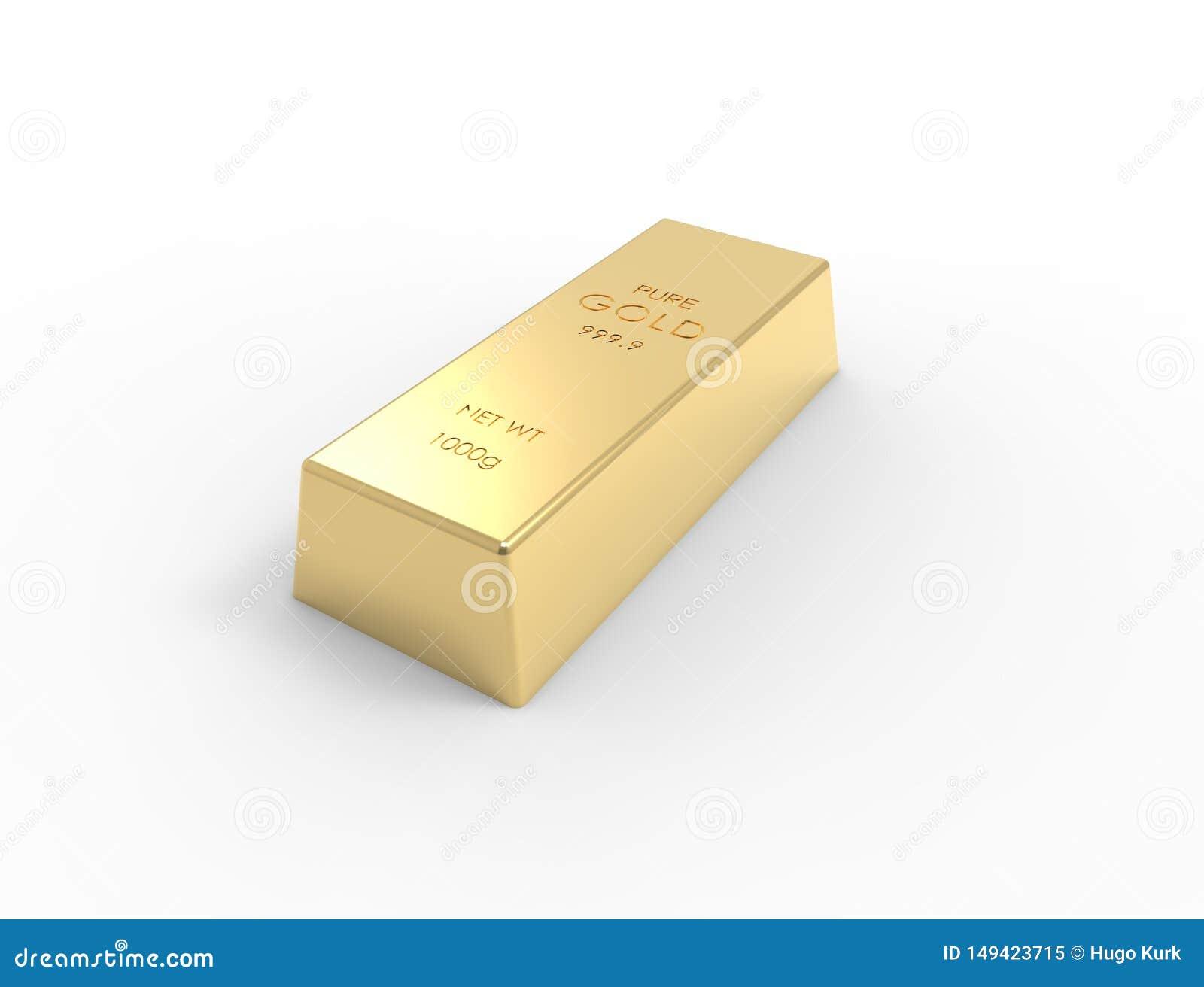 Rappresentazione 3D delle barre di oro isolate sul fondo bianco dello studio
