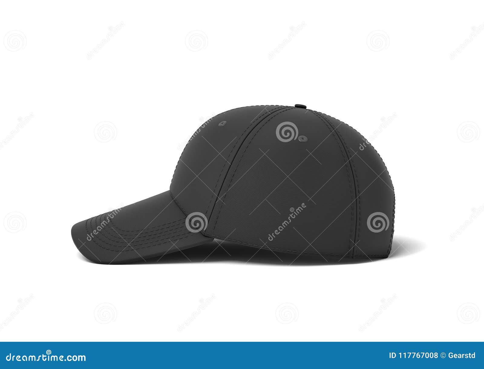 Rappresentazione 3d di un berretto da baseball nero singolo con la menzogne  di cucitura del nero su un fondo bianco in una vista laterale Usura dello  sport ... 6b52f68d758e