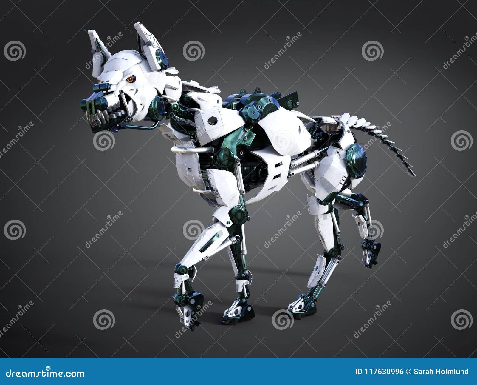 Rappresentazione 3D di un cane futuristico del robot