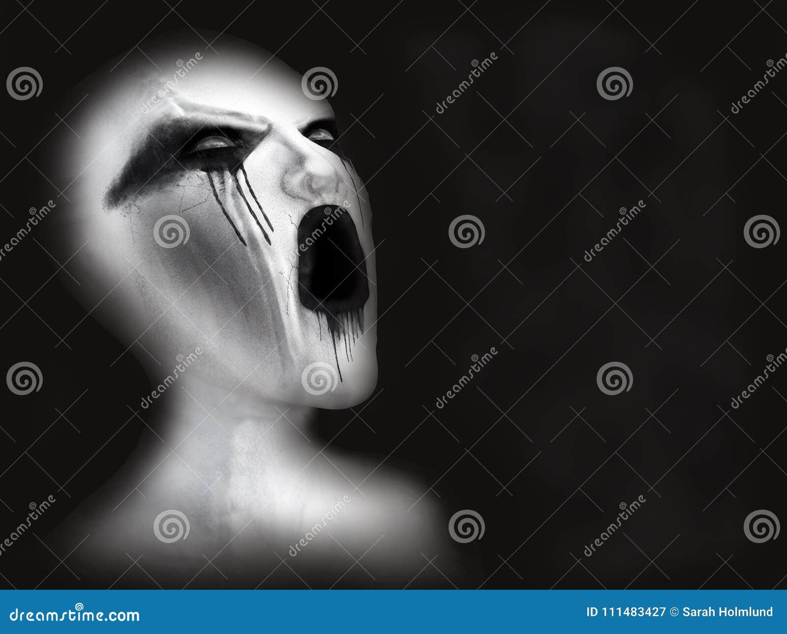 Rappresentazione 3D di un demone o di un fantasma bianco