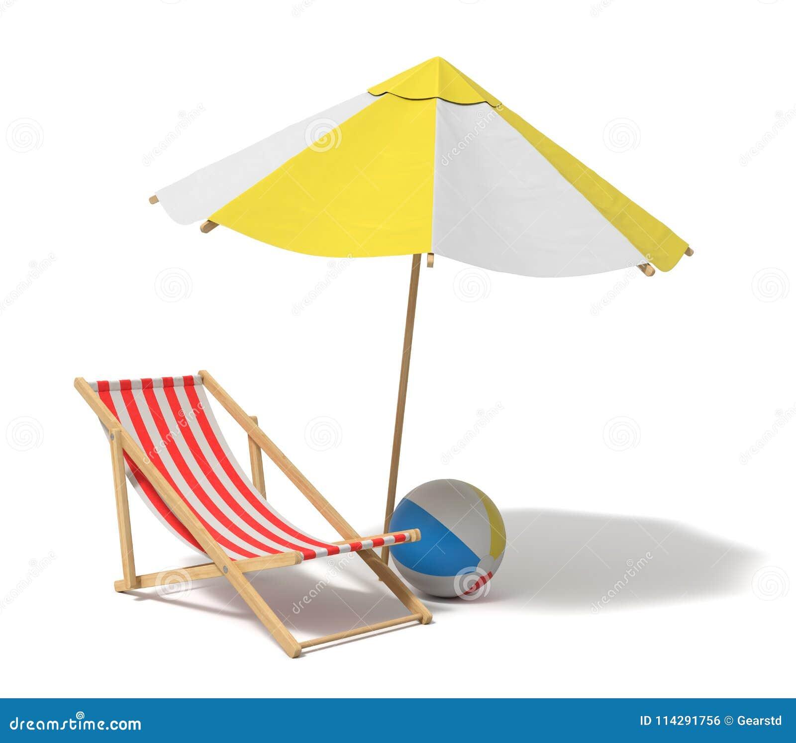 Sdraio Da Spiaggia In Legno.Rappresentazione 3d Di Un Ombrello Di Spiaggia Bianco E Giallo E