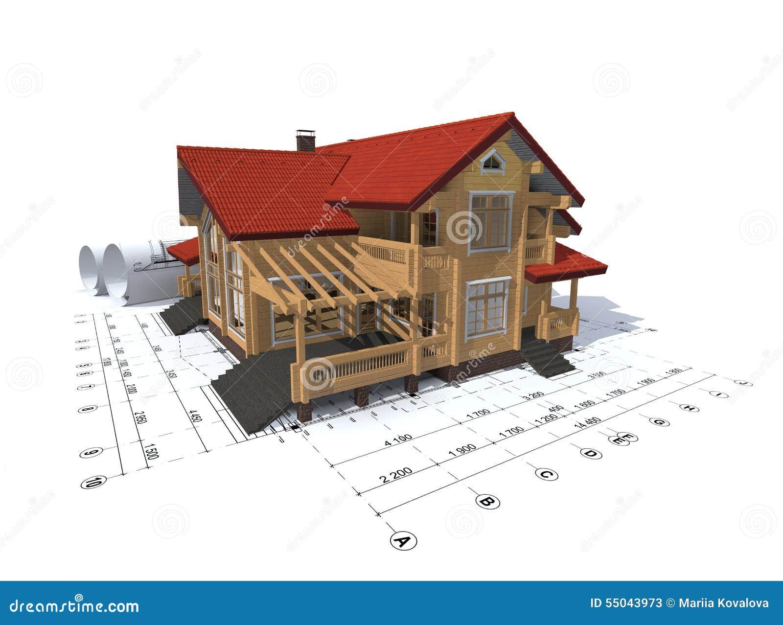 Progettazione Casa 3d : Rappresentazione d di un progetto della casa illustrazione di