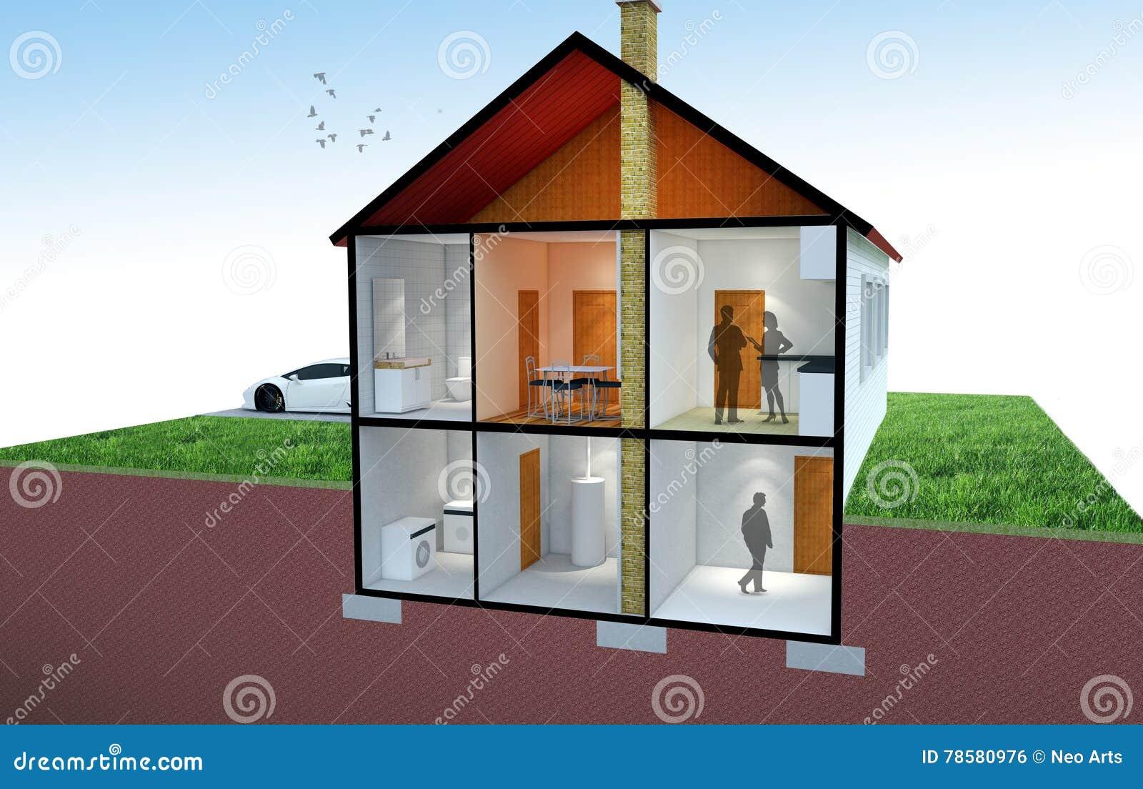 Rappresentazione 3D di una sezione della casa
