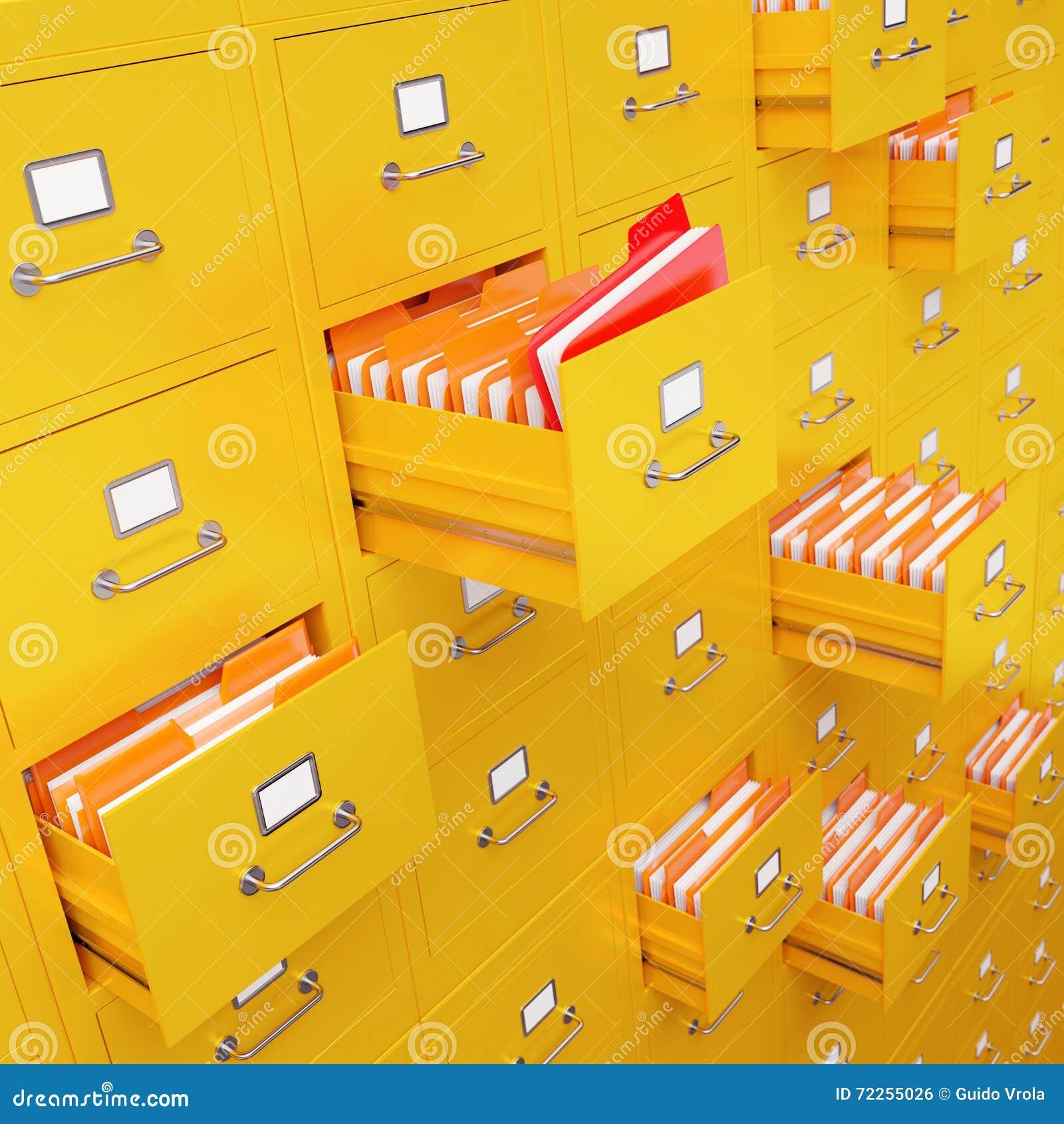 Rappresentazione del gabinetto di archivio 3D