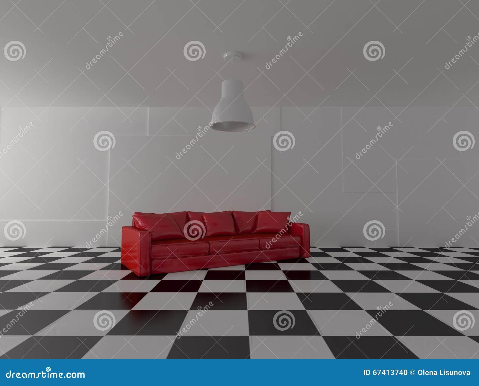 Pavimento Rosso E Bianco : Rappresentazione del sofà luminoso moderno nei colori rossi sul