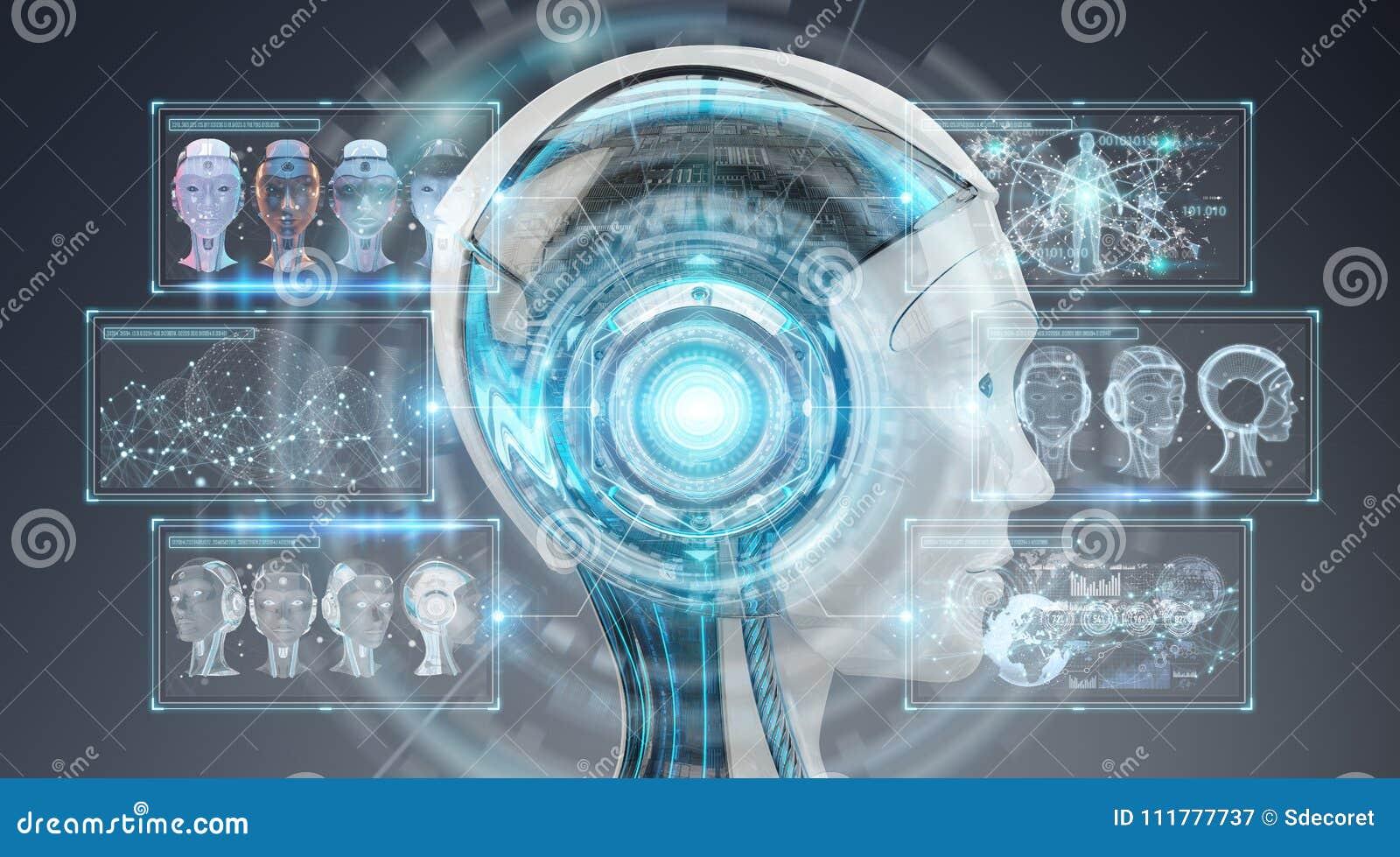 Rappresentazione dell interfaccia 3D del cyborg di intelligenza artificiale di Digital