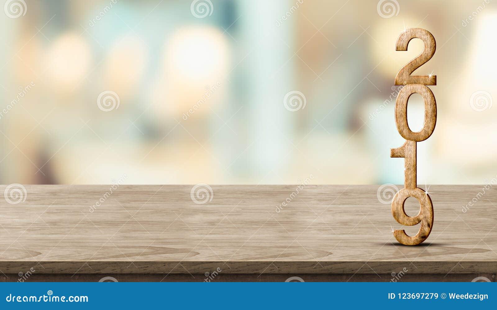 Rappresentazione di legno di numero 3d del nuovo anno 2019 sulla tavola di legno a sfuocatura