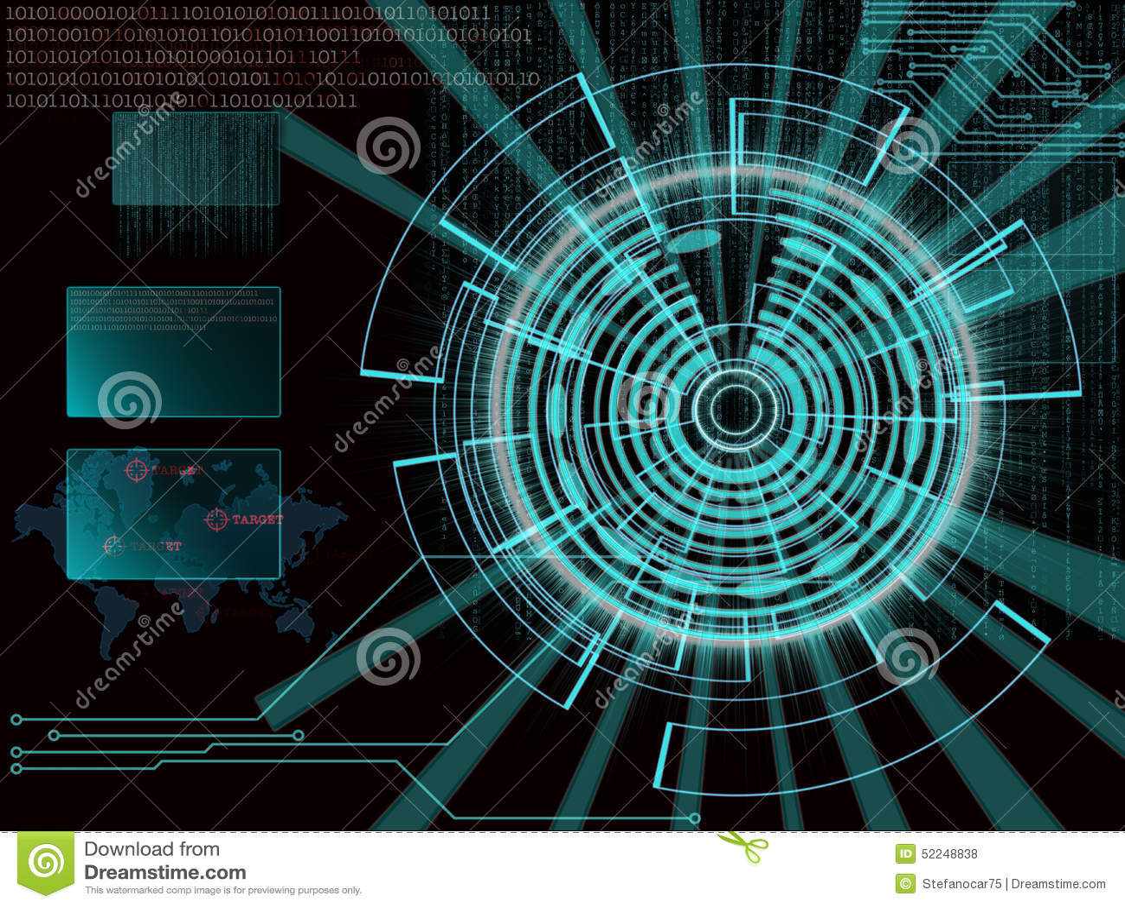Rappresentazione di un obiettivo cyber futuristico del fondo con il lig del laser