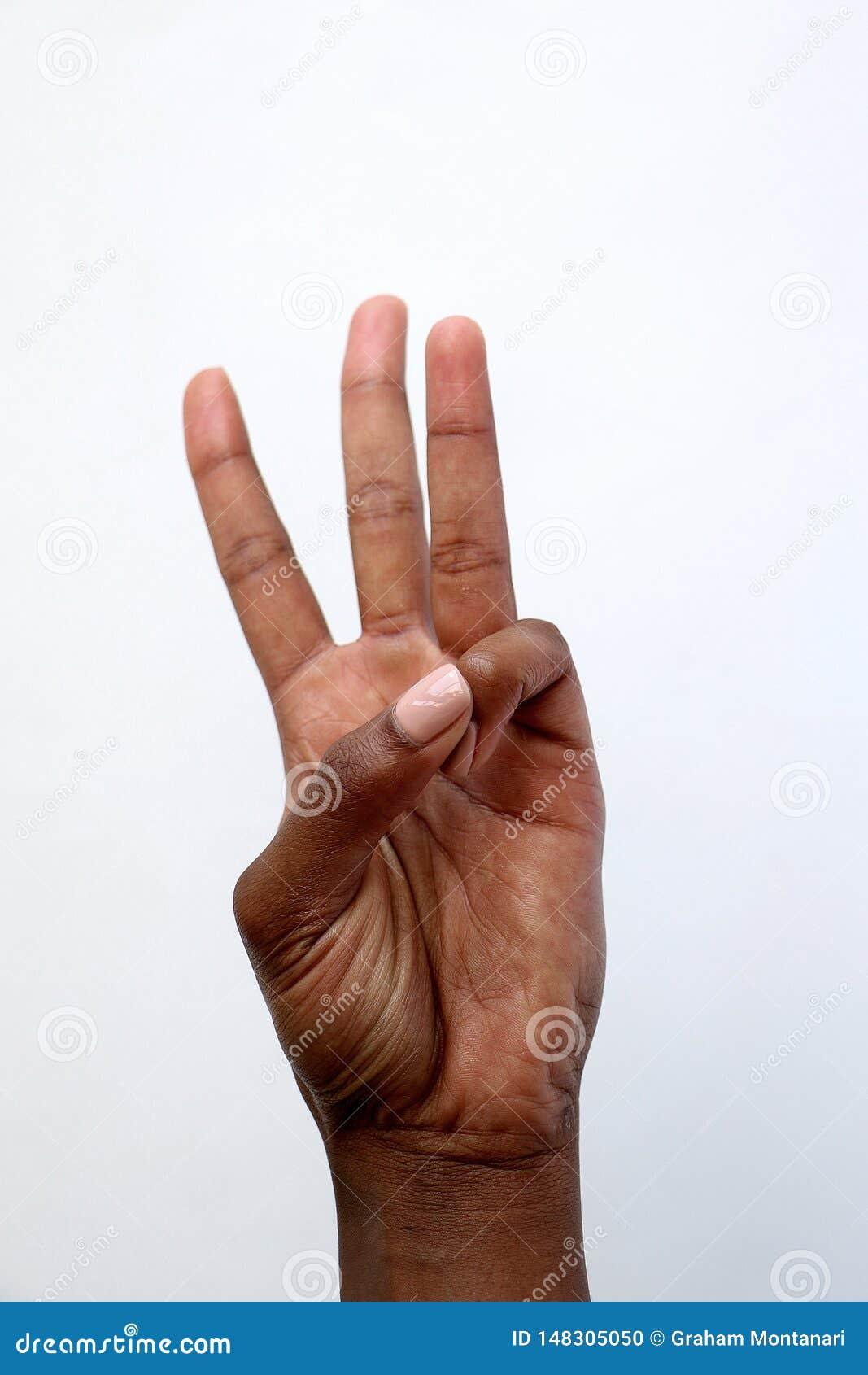 Rappresentazione indiana numero tre della mano dell africano nero