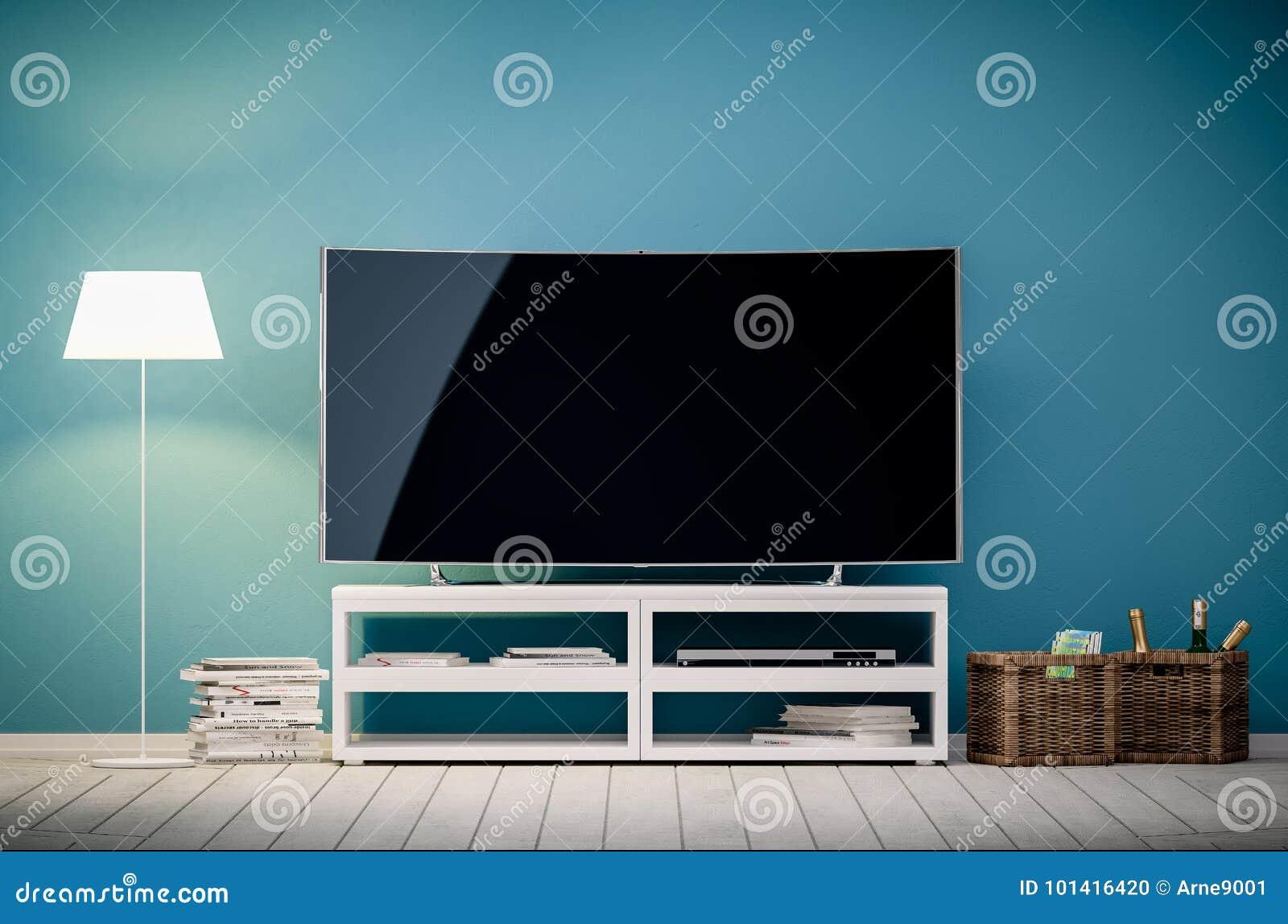 Rappresentazione interna 3d del salone moderno con la TV e la lampada