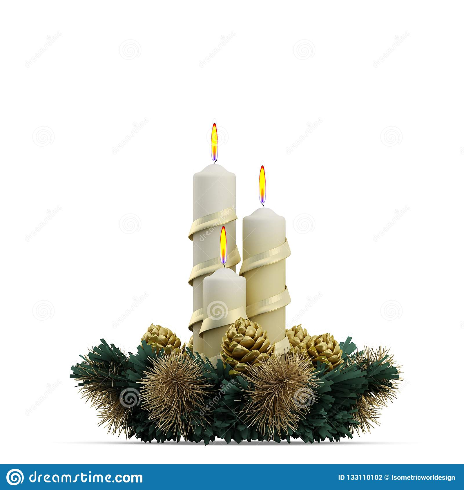 Rappresentazione isometrica di festa 3D di Natale
