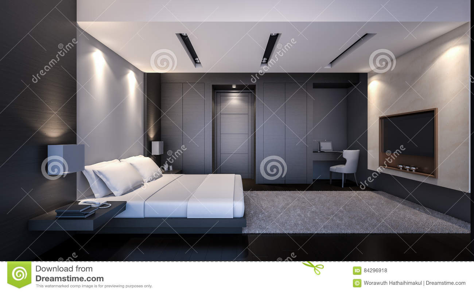 Rappresentazione Moderna Nera Camera Da Letto/3D Illustrazione di ...