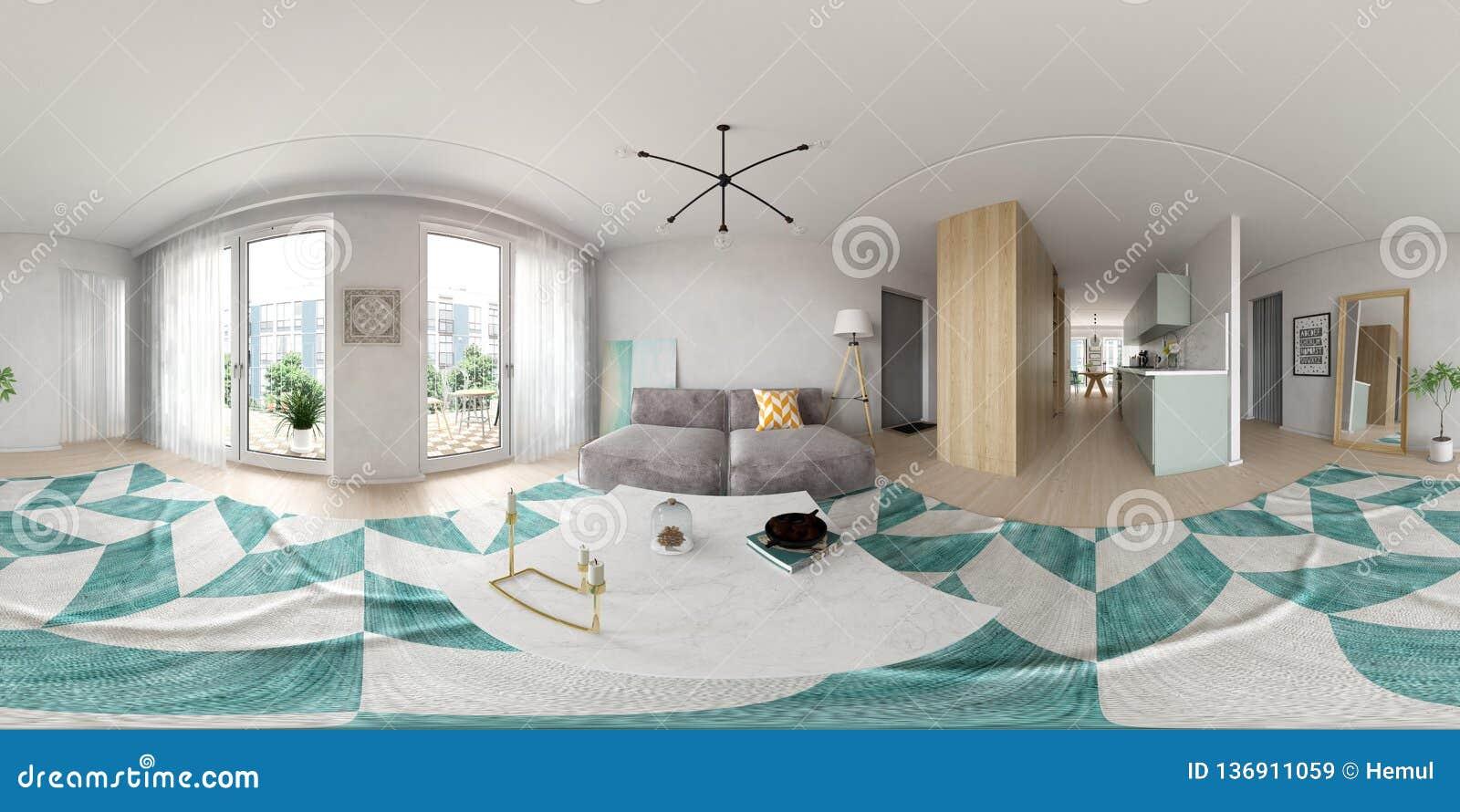 Rappresentazione scandinava di interior design 3D di stile 360 della proiezione sferica di panorama