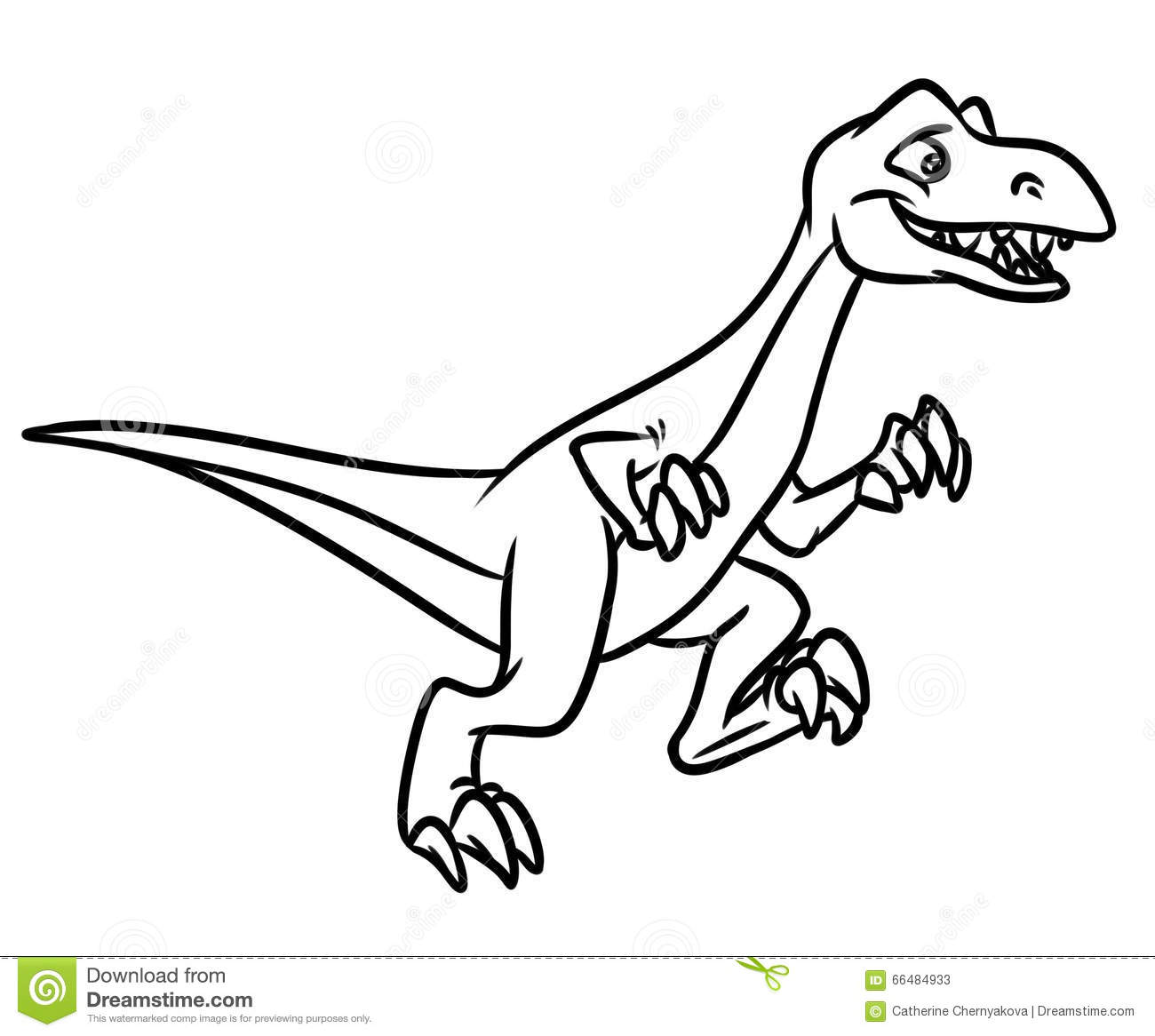 Raptor Dinosaur Jurassic Period Coloring Pages Stock Illustration Velociraptor Coloring Page