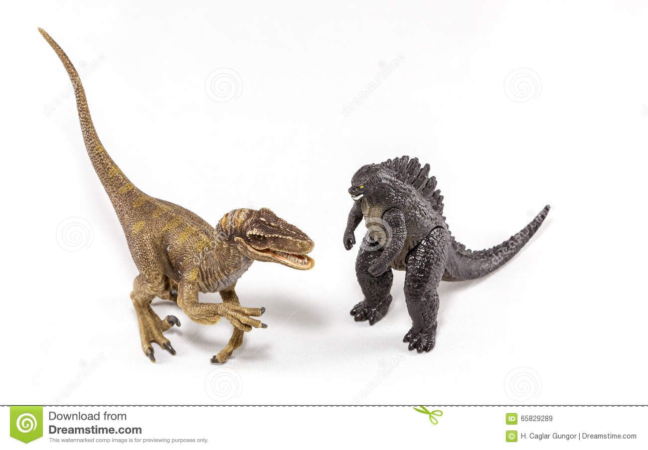 Raptor and Godzilla Fighting